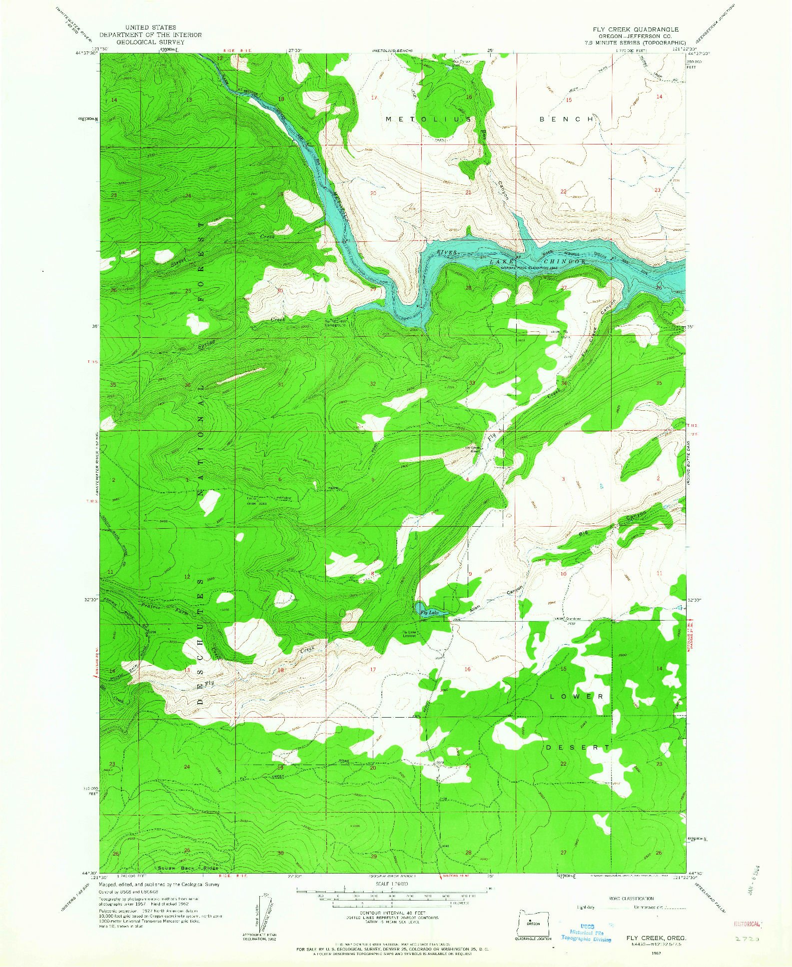 USGS 1:24000-SCALE QUADRANGLE FOR FLY CREEK, OR 1962