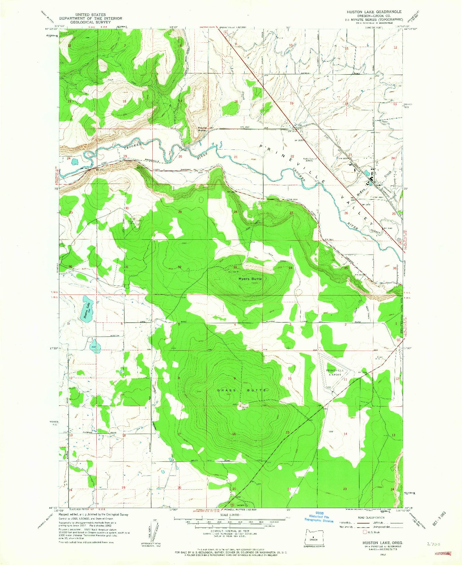 USGS 1:24000-SCALE QUADRANGLE FOR HUSTON LAKE, OR 1962