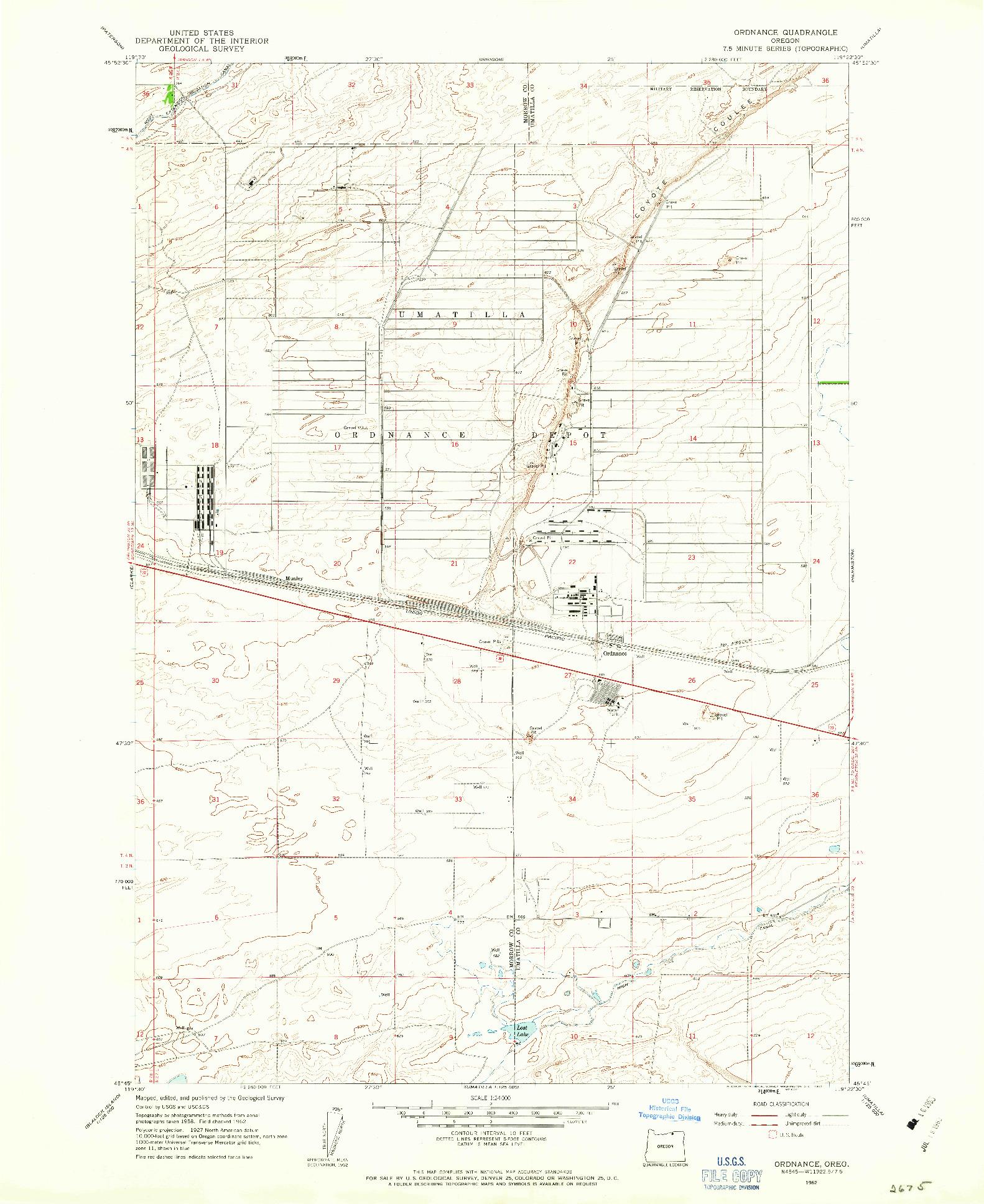 USGS 1:24000-SCALE QUADRANGLE FOR ORDNANCE, OR 1962
