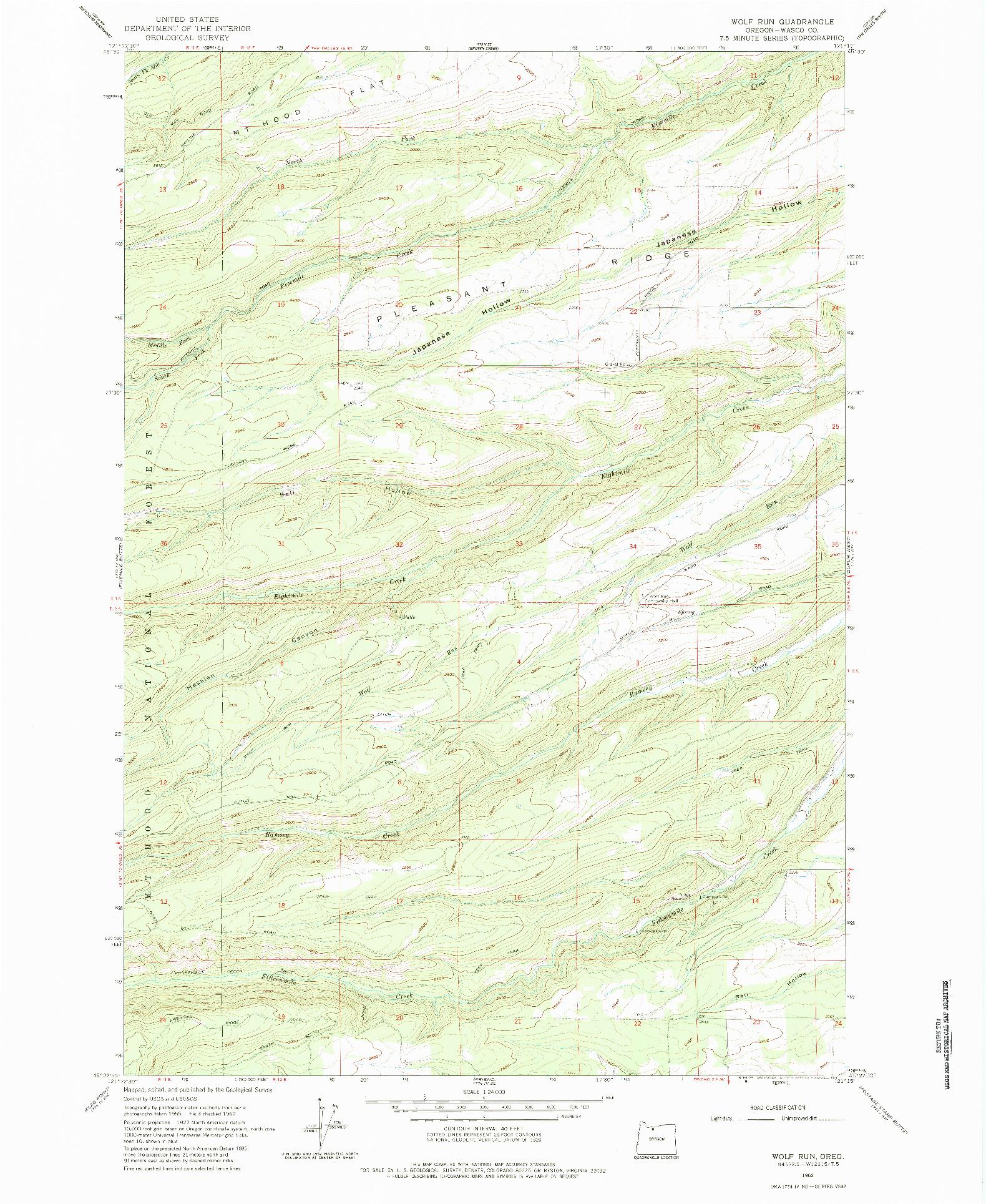 USGS 1:24000-SCALE QUADRANGLE FOR WOLF RUN, OR 1962