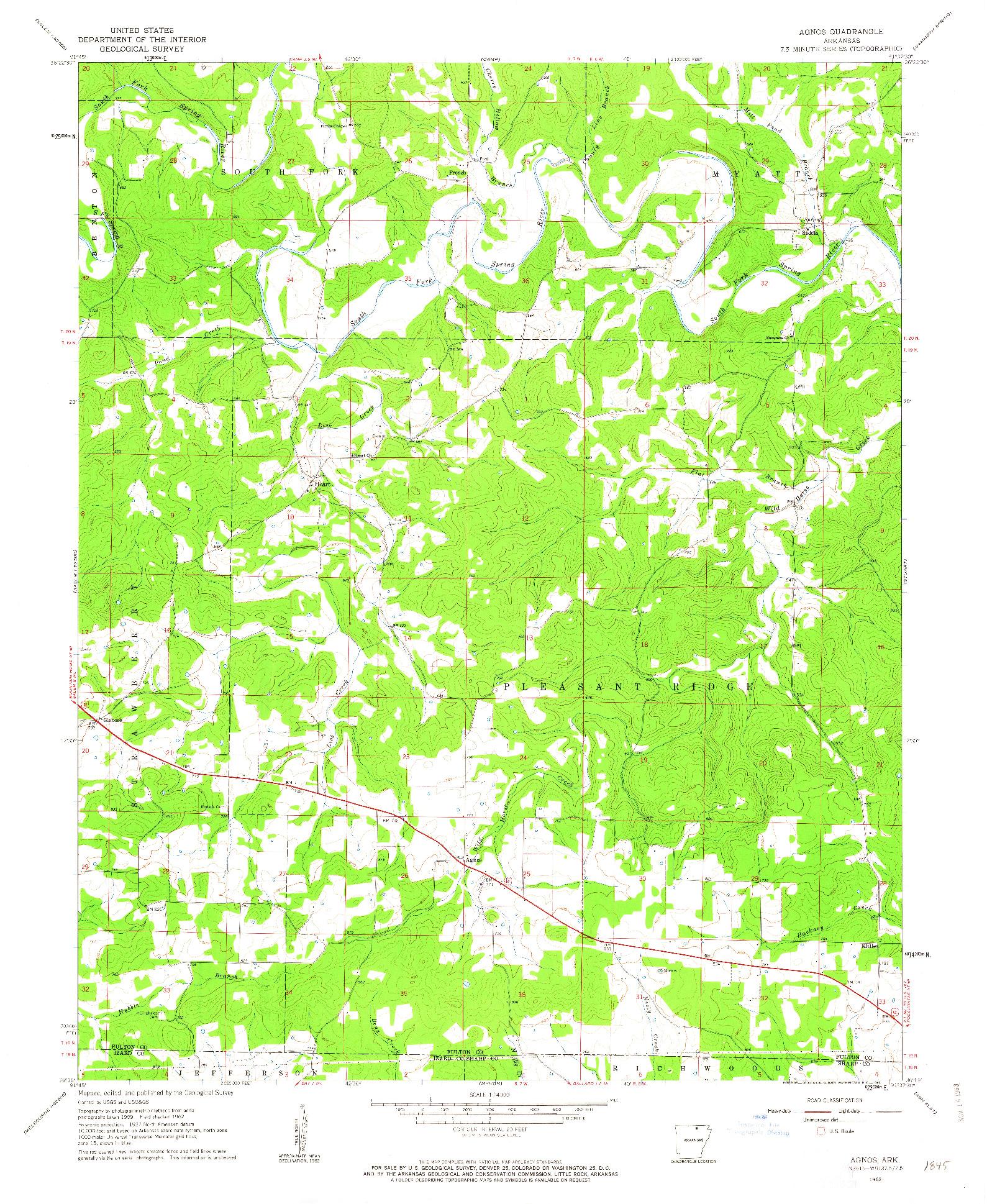 USGS 1:24000-SCALE QUADRANGLE FOR AGNOS, AR 1962