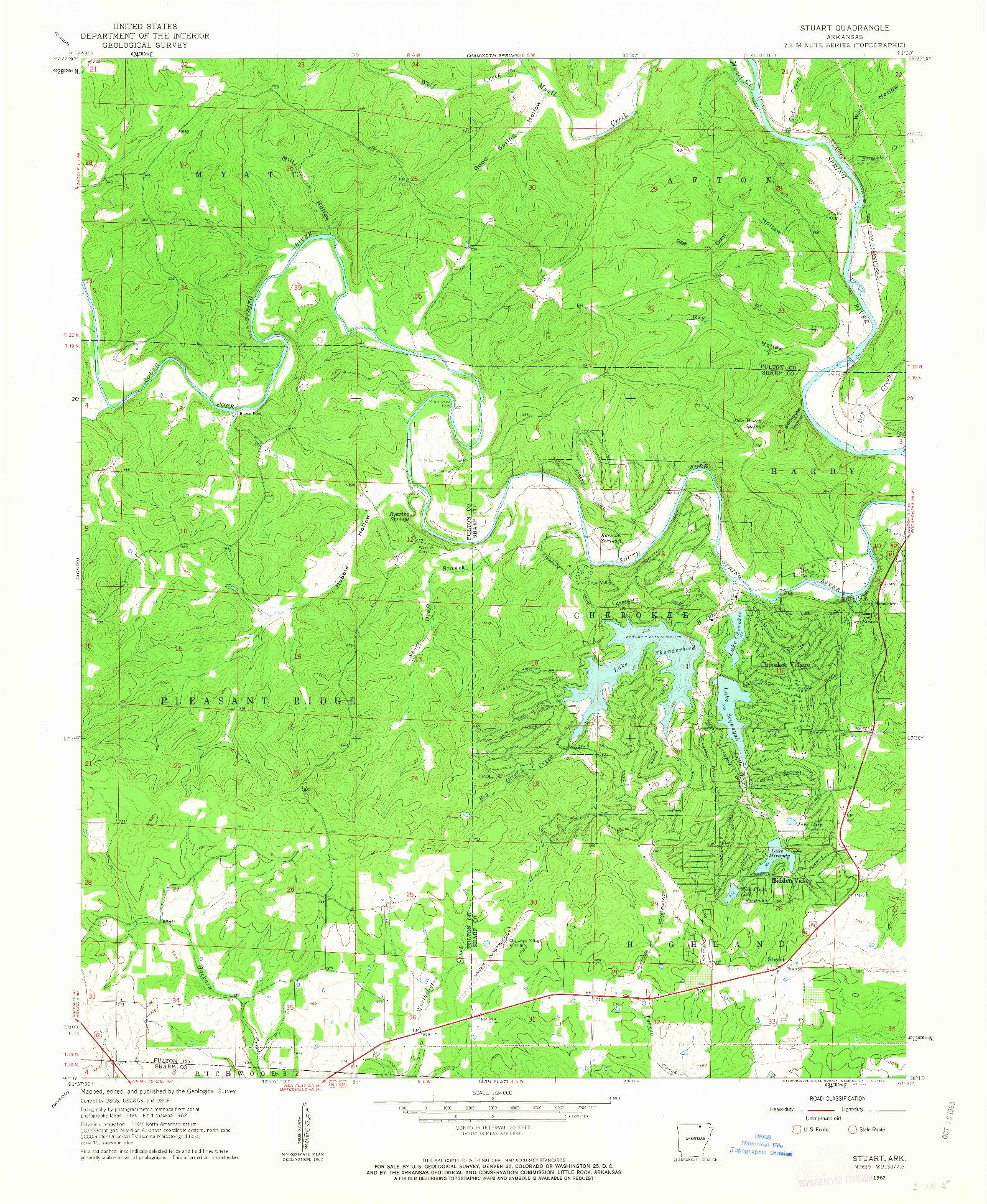 USGS 1:24000-SCALE QUADRANGLE FOR STUART, AR 1962