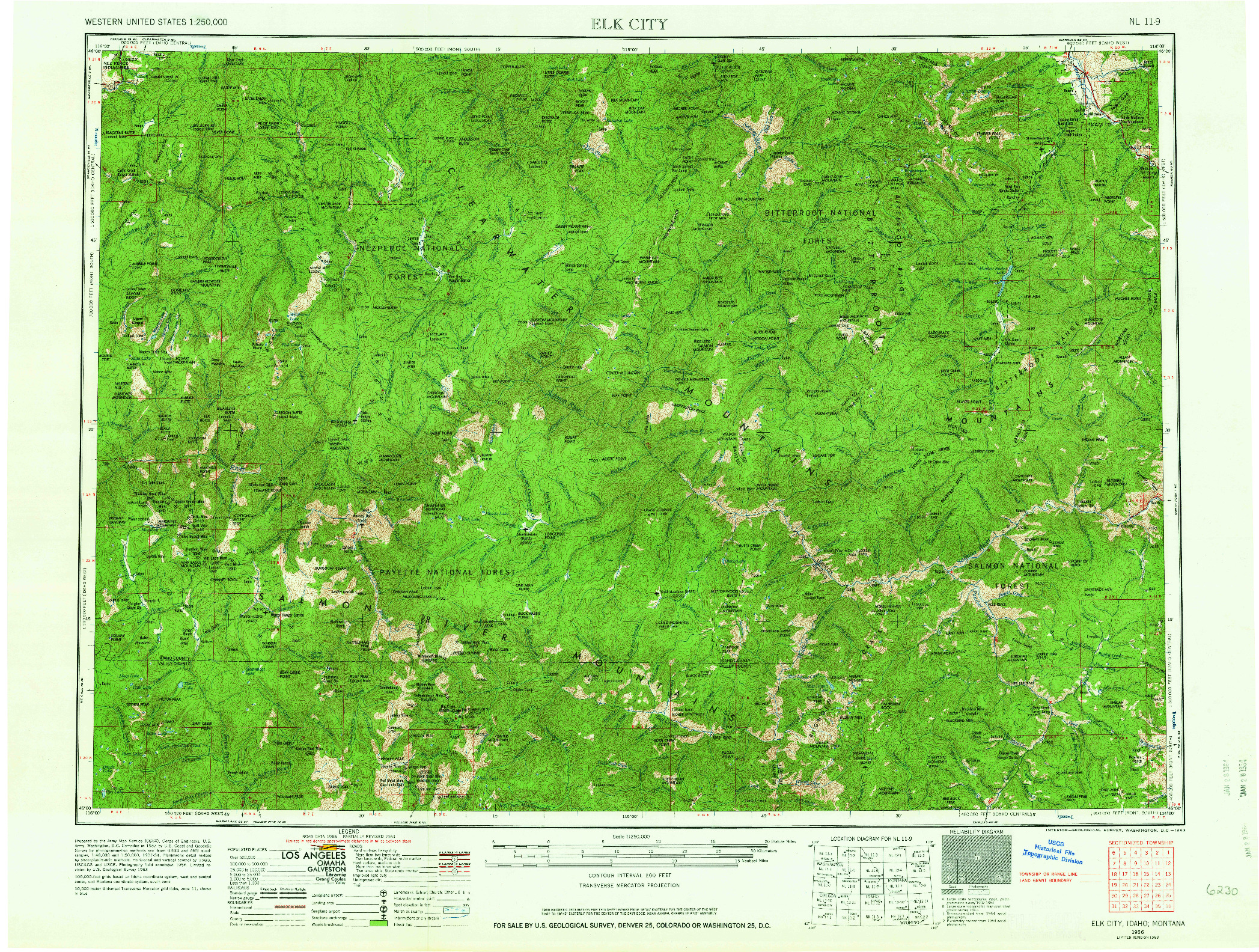 USGS 1:250000-SCALE QUADRANGLE FOR ELK CITY, ID 1956