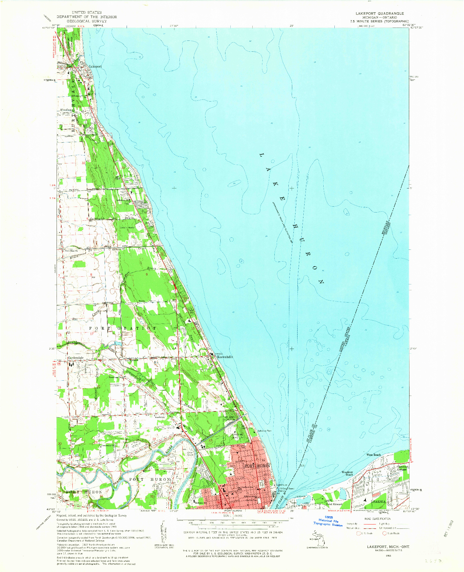 USGS 1:24000-SCALE QUADRANGLE FOR LAKEPORT, MI 1961