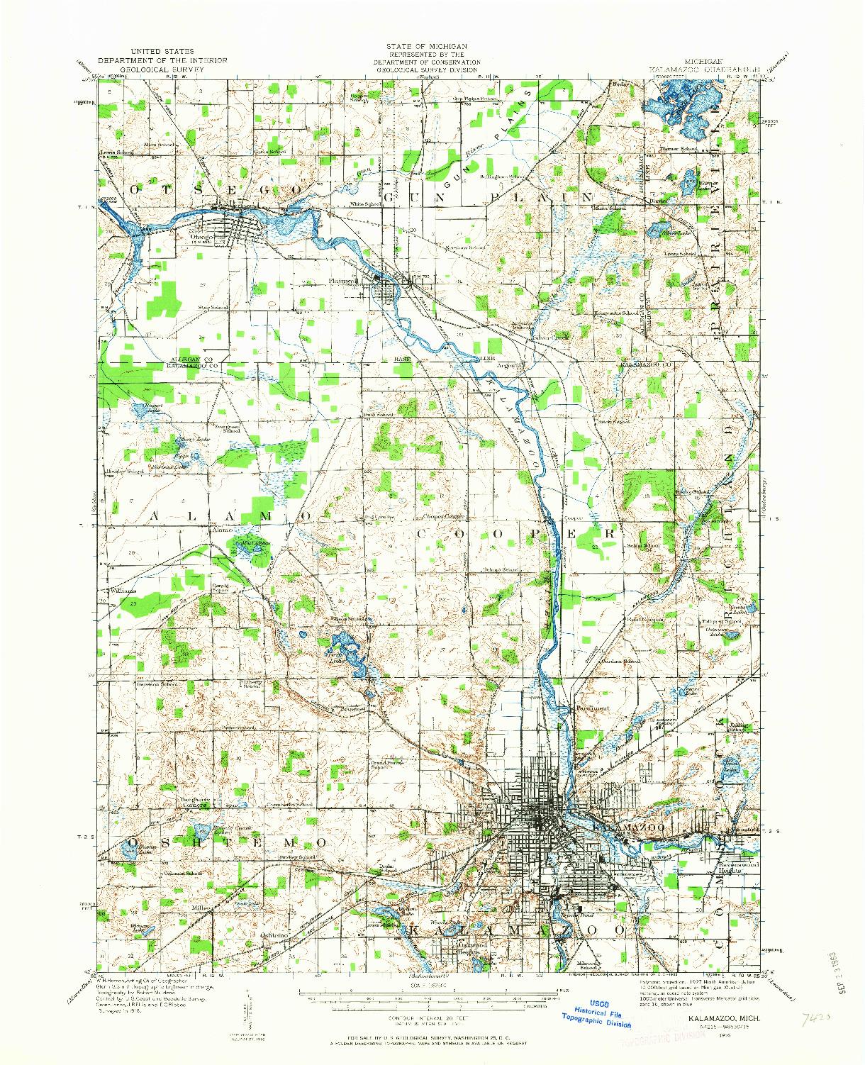 USGS 1:62500-SCALE QUADRANGLE FOR KALAMAZOO, MI 1916