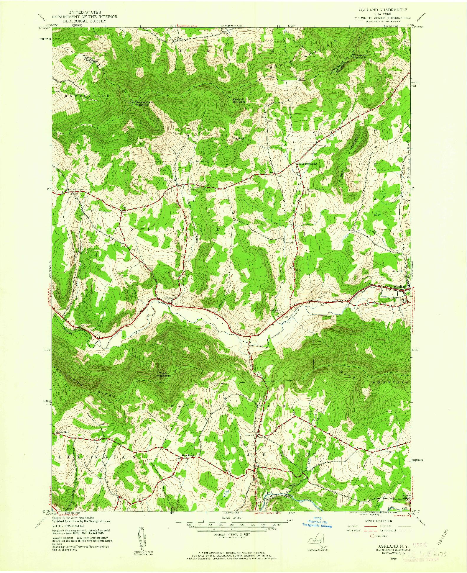 USGS 1:24000-SCALE QUADRANGLE FOR ASHLAND, NY 1945