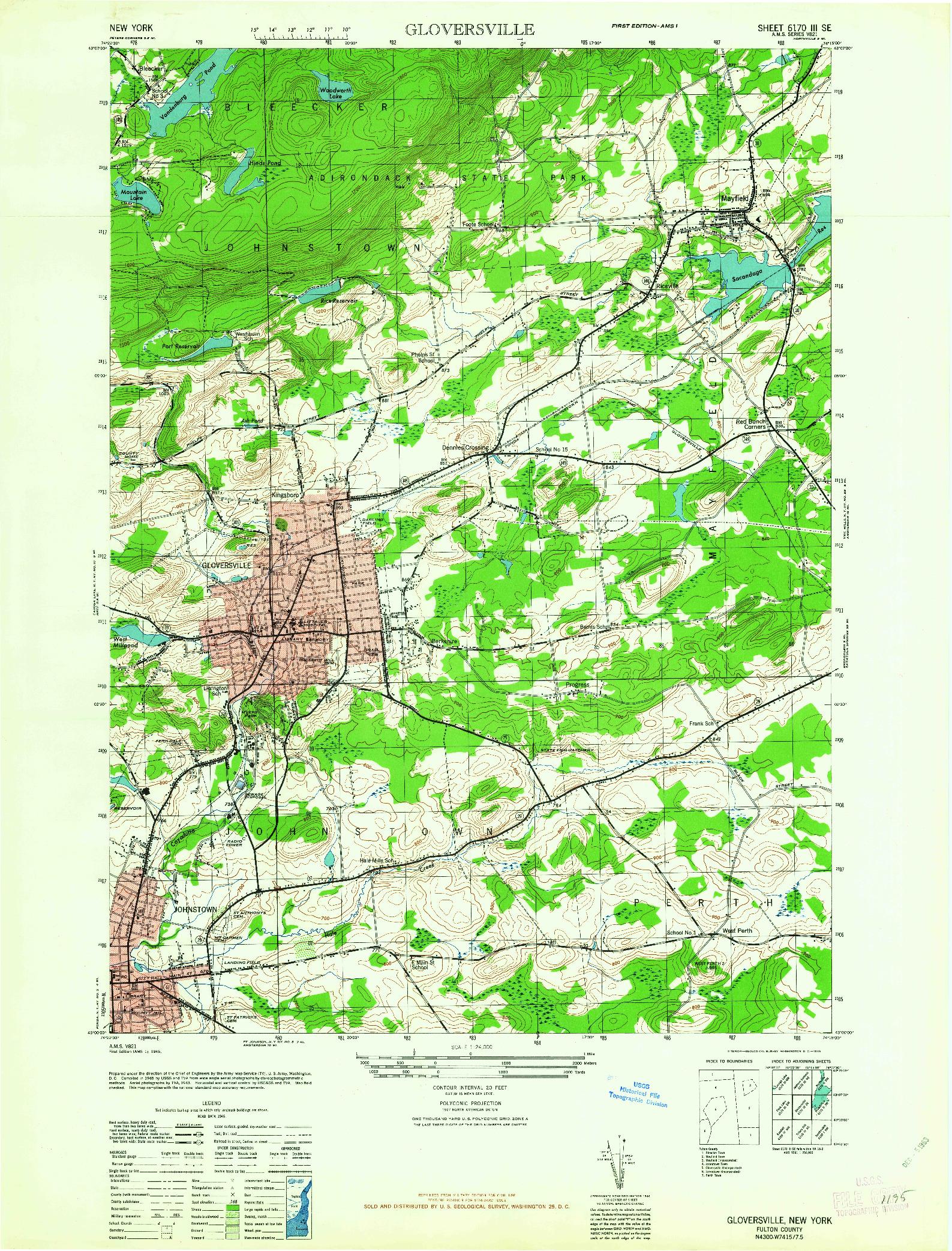 USGS 1:24000-SCALE QUADRANGLE FOR GLOVERSVILLE, NY 1963