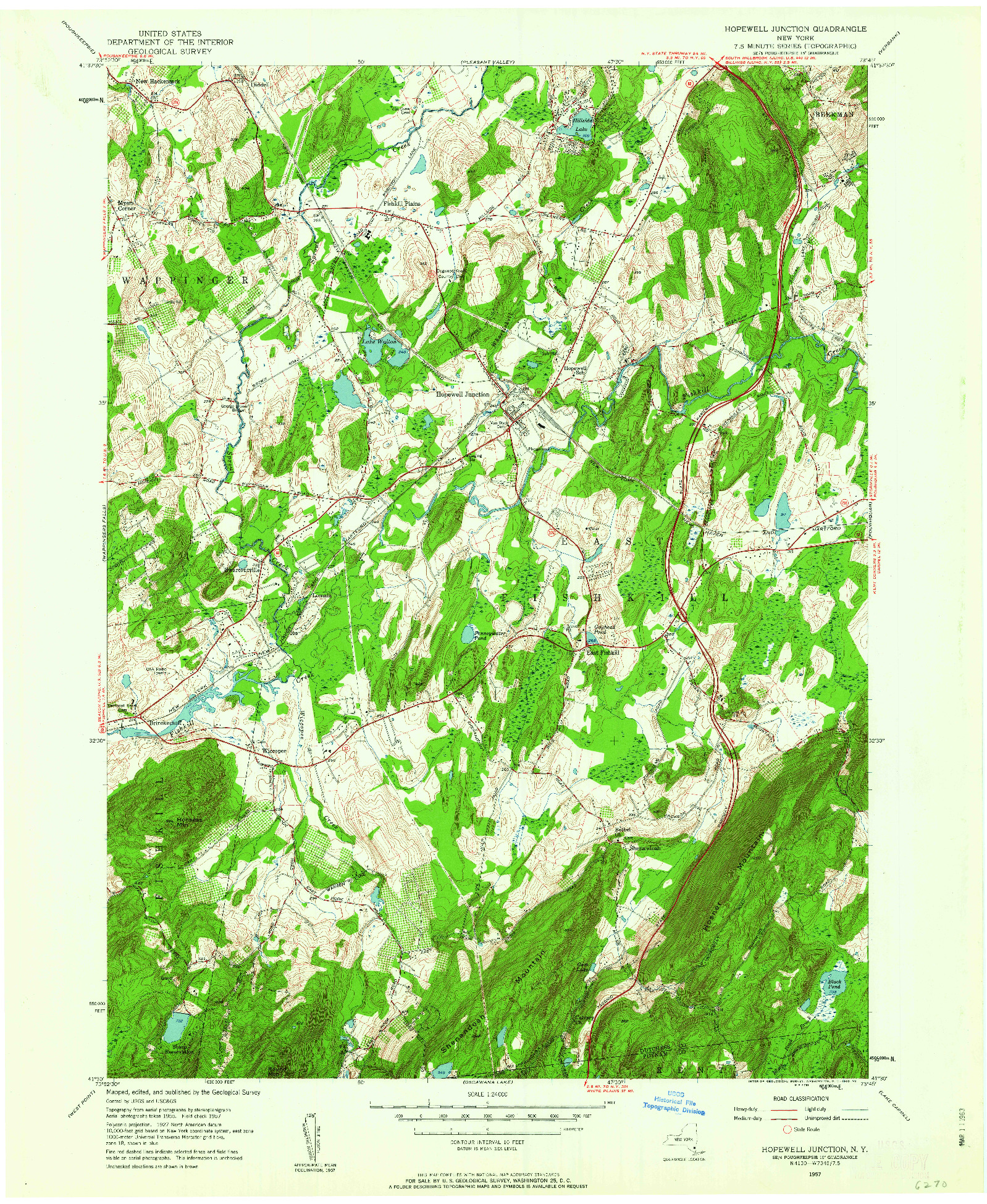 USGS 1:24000-SCALE QUADRANGLE FOR HOPEWELL JUNCTION, NY 1957