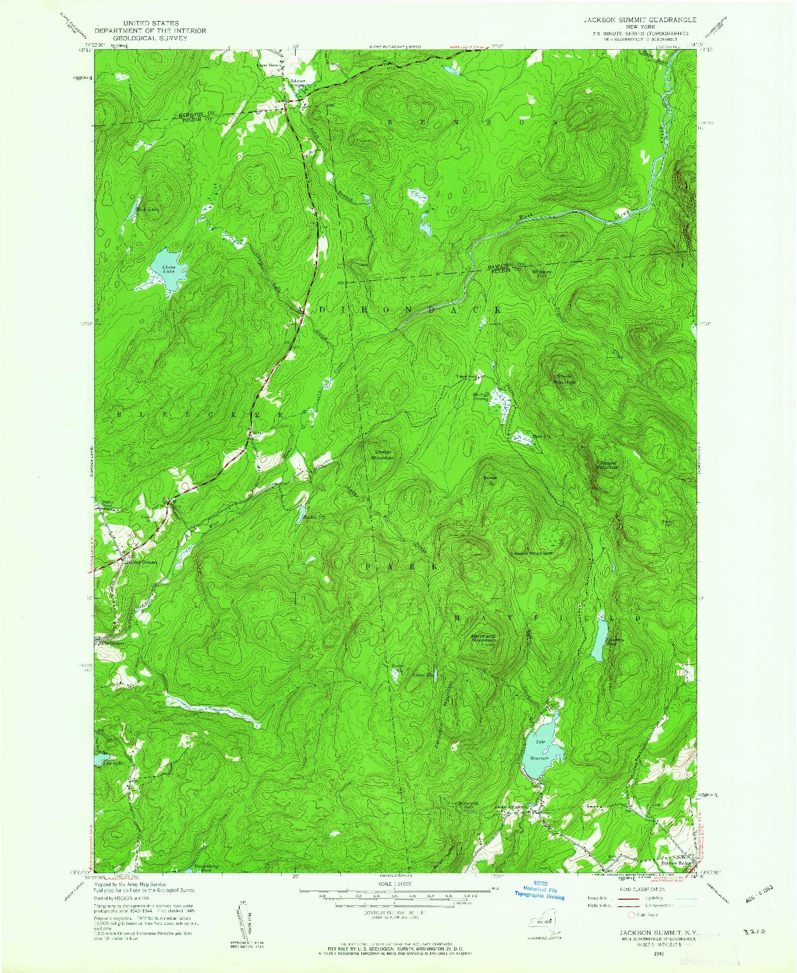 USGS 1:24000-SCALE QUADRANGLE FOR JACKSON SUMMIT, NY 1945