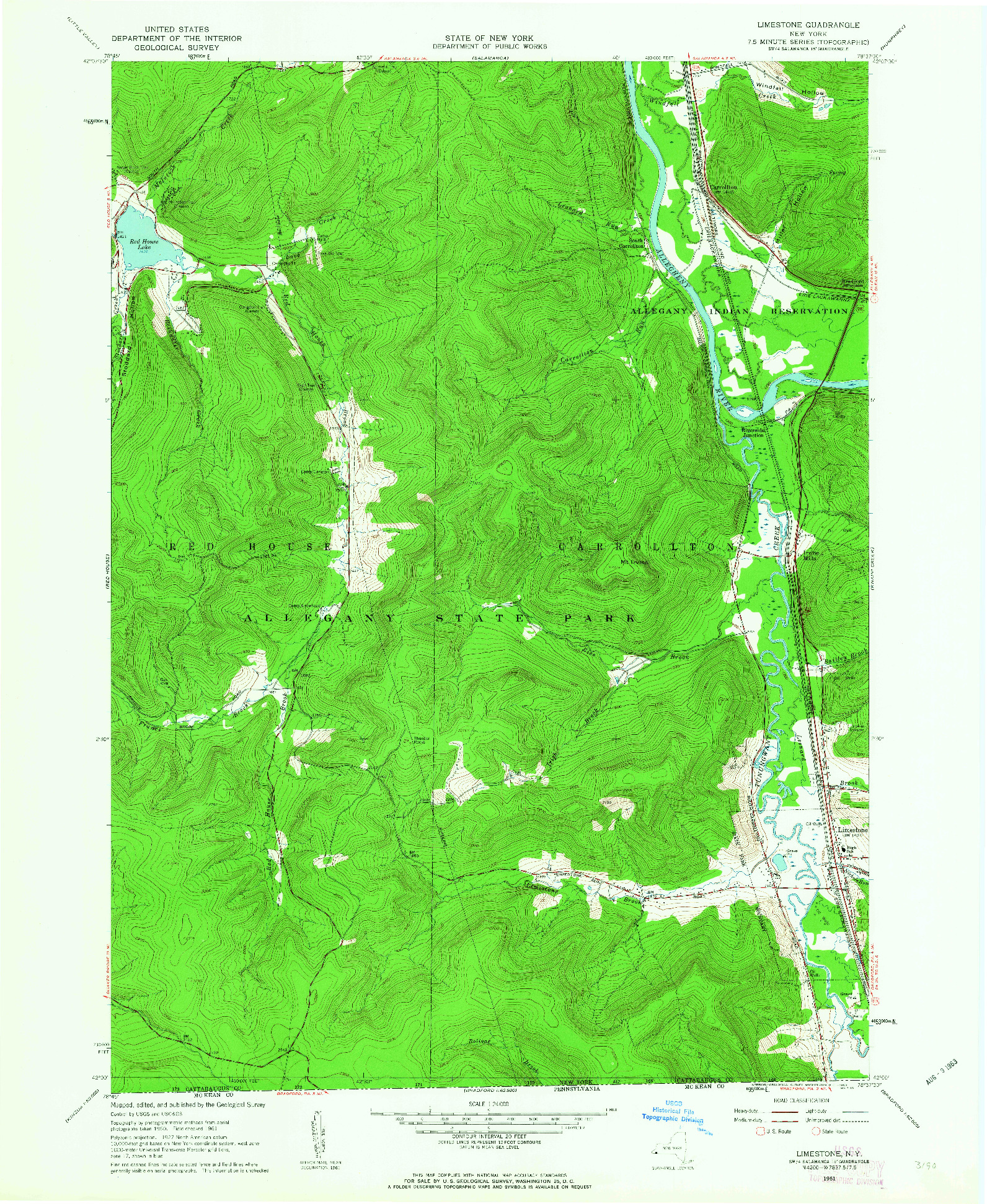 USGS 1:24000-SCALE QUADRANGLE FOR LIMESTONE, NY 1961