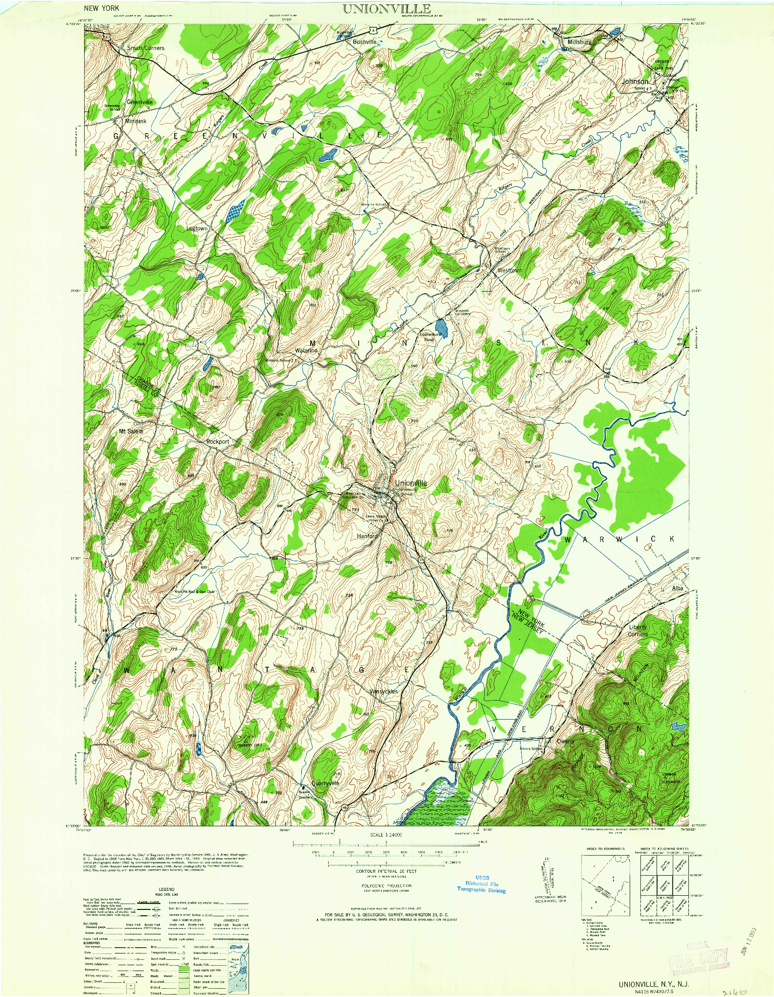 USGS 1:24000-SCALE QUADRANGLE FOR UNIONVILLE, NY 1963