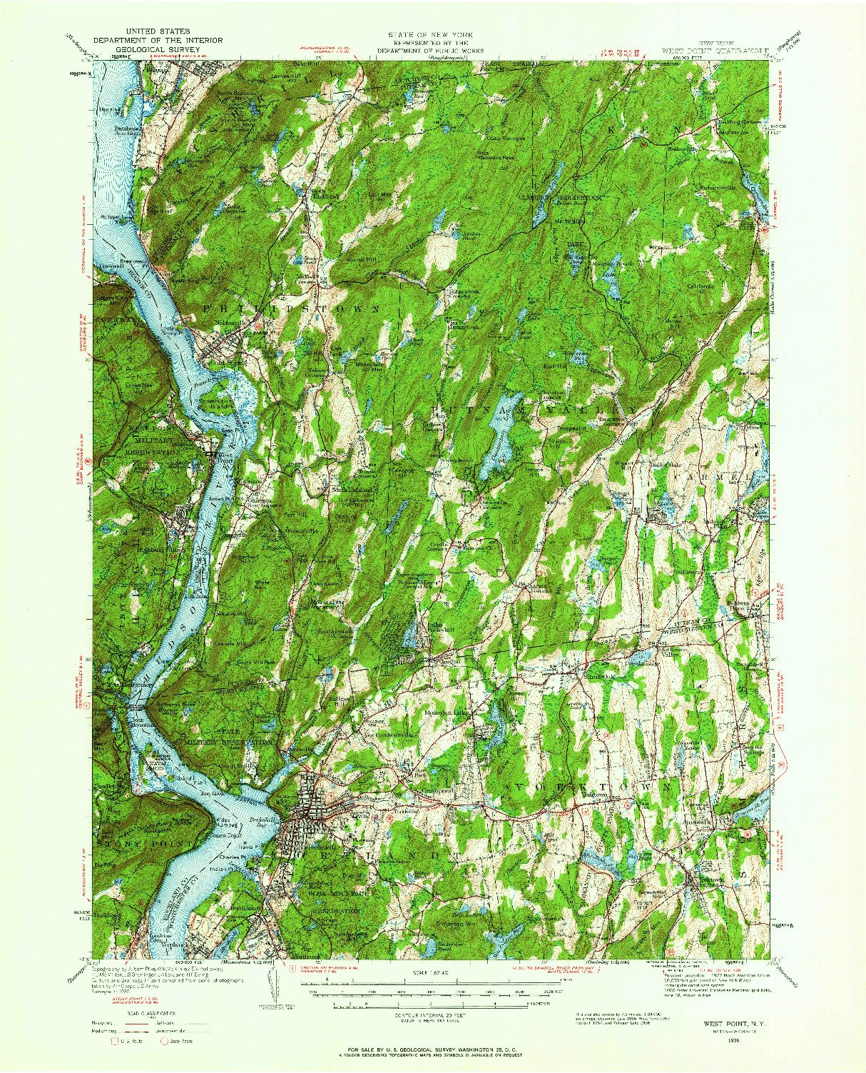 USGS 1:62500-SCALE QUADRANGLE FOR WEST POINT, NY 1936