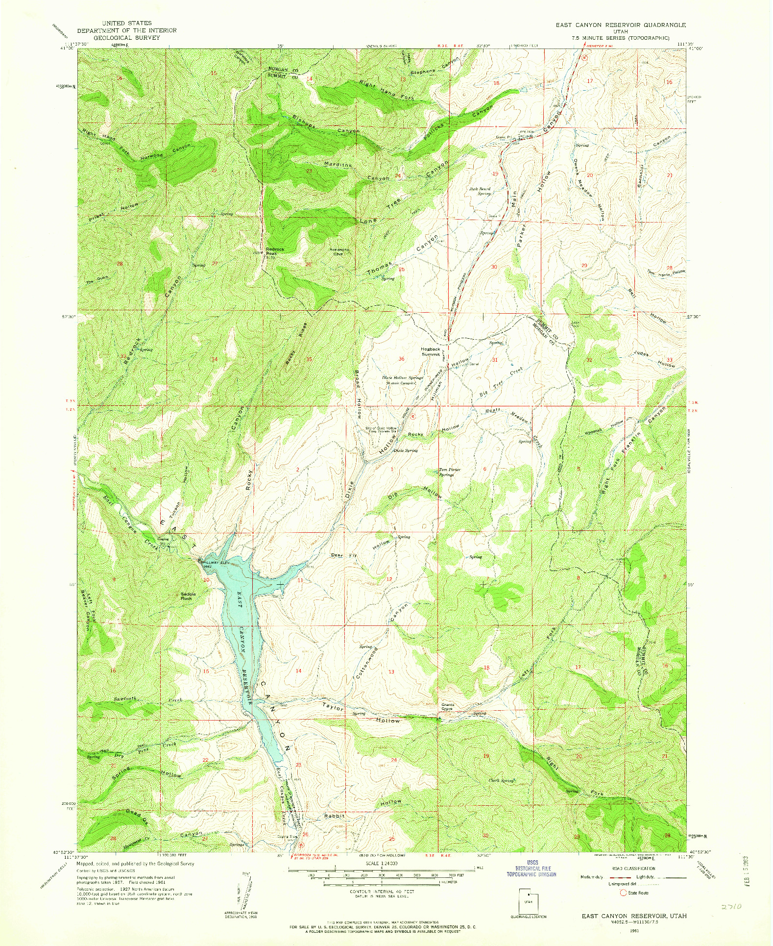 USGS 1:24000-SCALE QUADRANGLE FOR EAST CANYON RESERVOIR, UT 1961