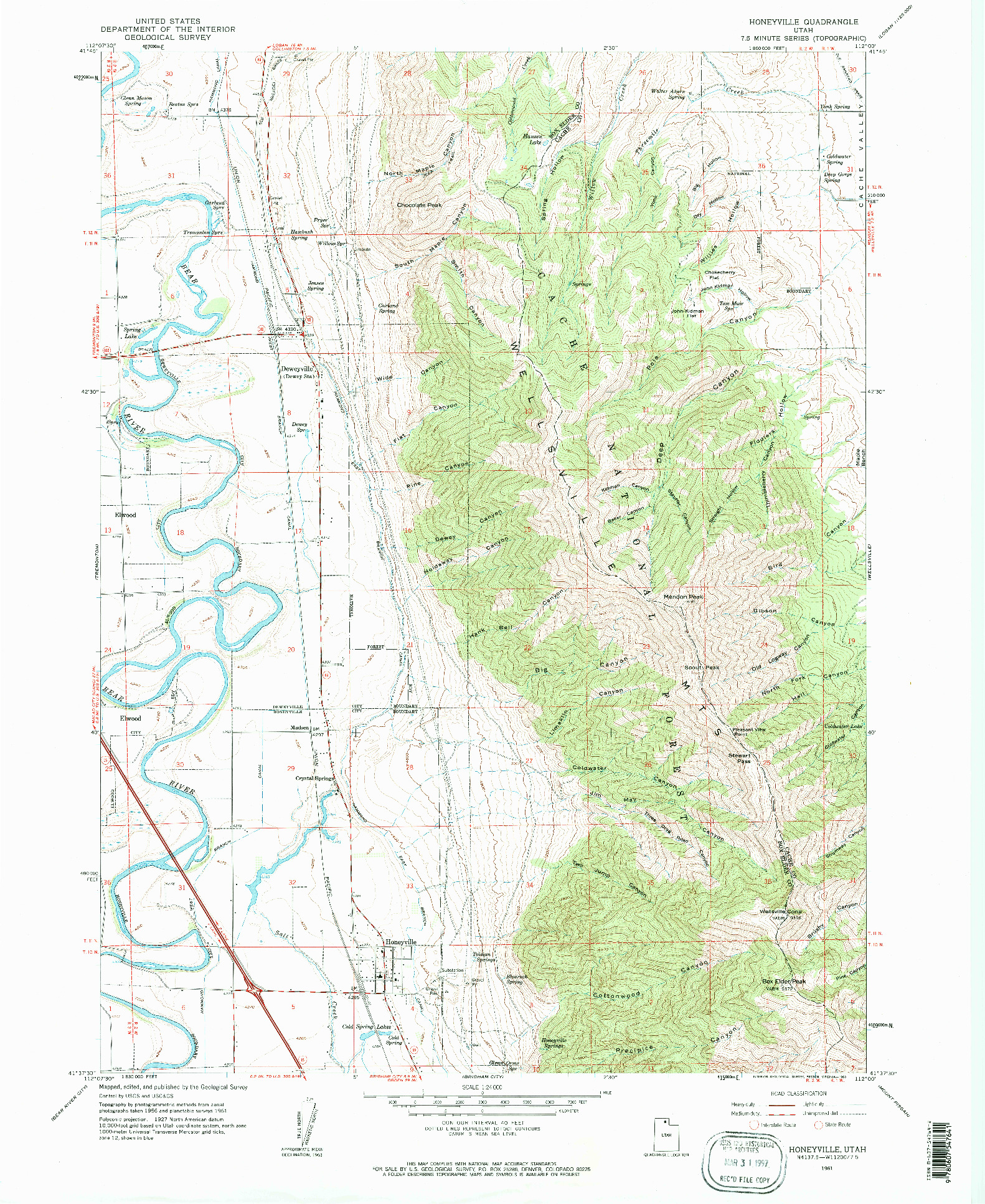 USGS 1:24000-SCALE QUADRANGLE FOR HONEYVILLE, UT 1961