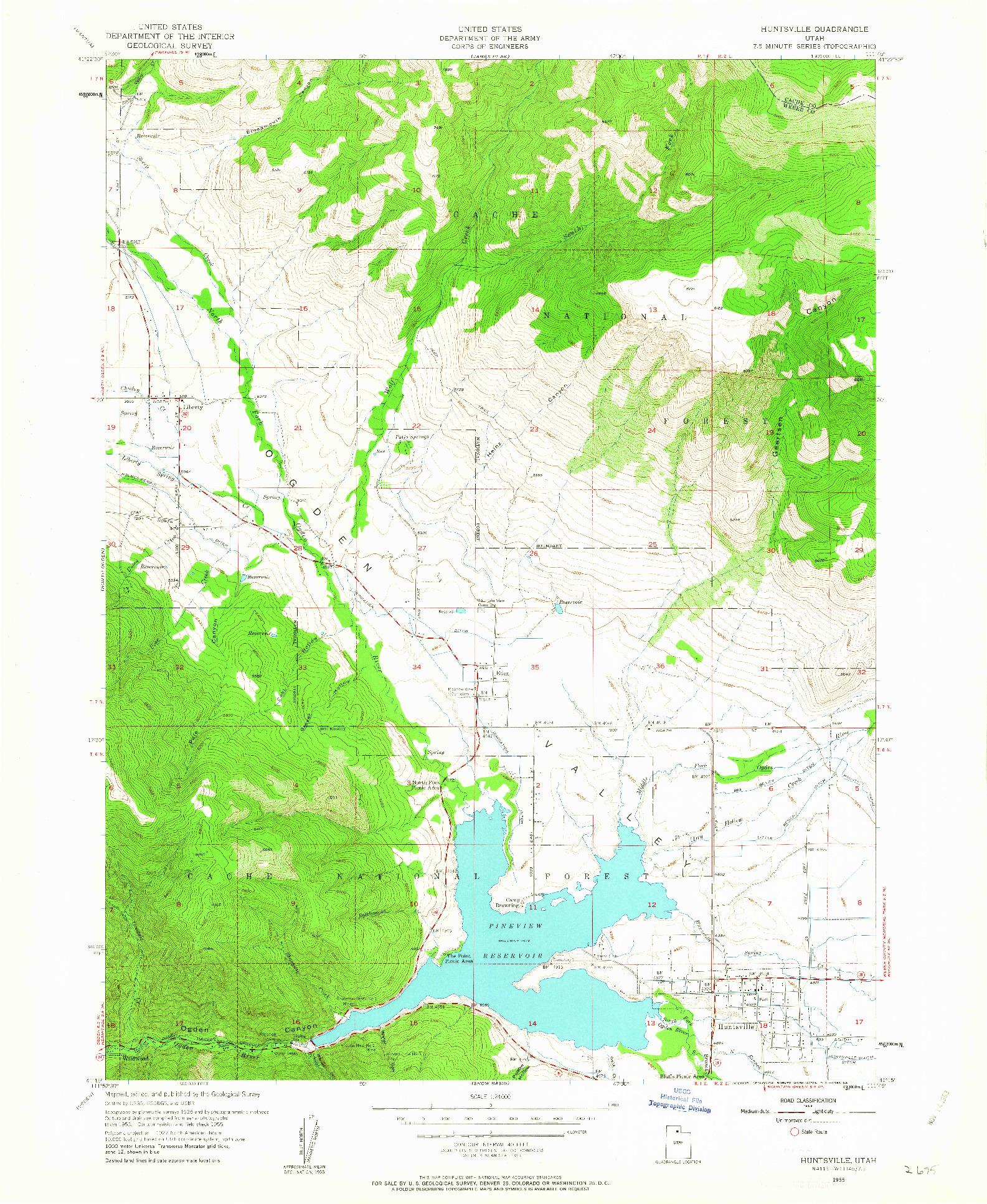 USGS 1:24000-SCALE QUADRANGLE FOR HUNTSVILLE, UT 1955