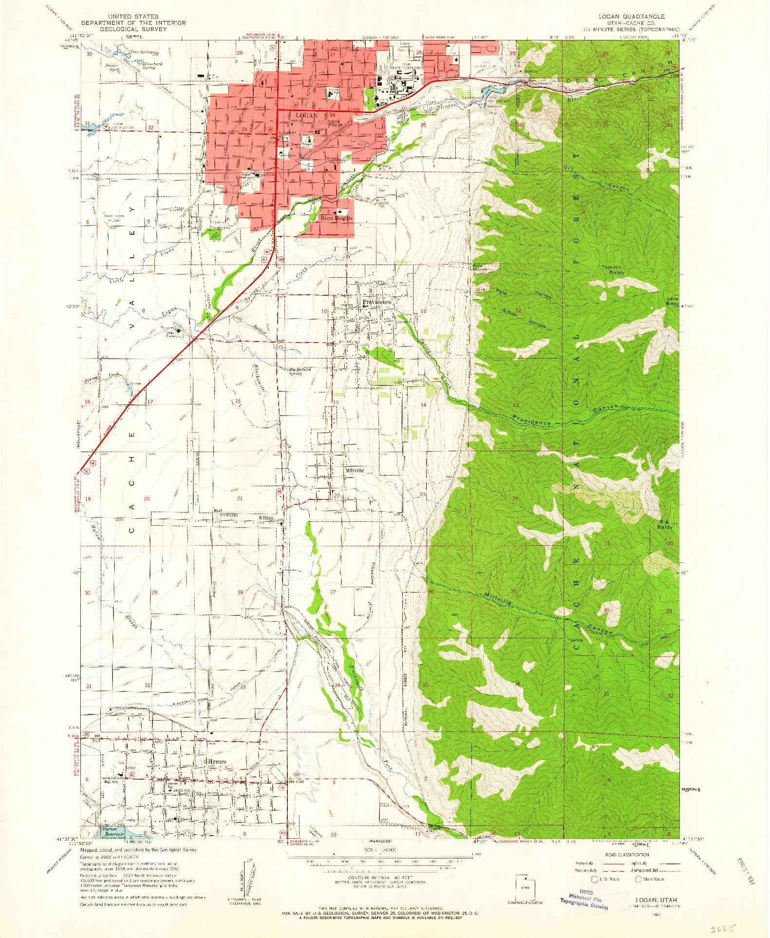 USGS 1:24000-SCALE QUADRANGLE FOR LOGAN, UT 1961