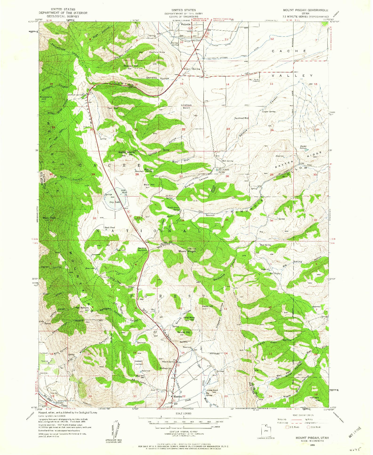 USGS 1:24000-SCALE QUADRANGLE FOR MOUNT PISGAH, UT 1955