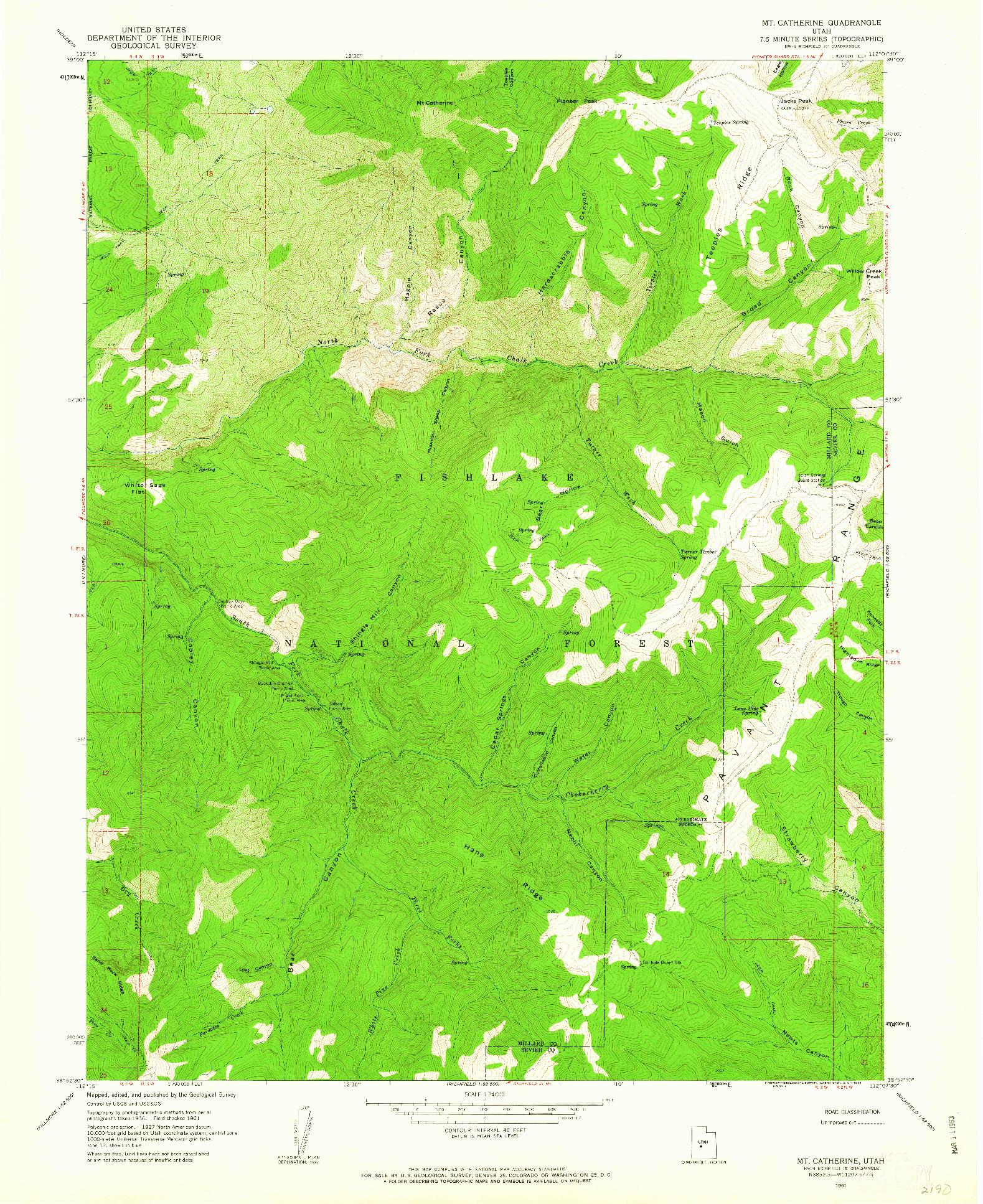 USGS 1:24000-SCALE QUADRANGLE FOR MT. CATHERINE, UT 1961