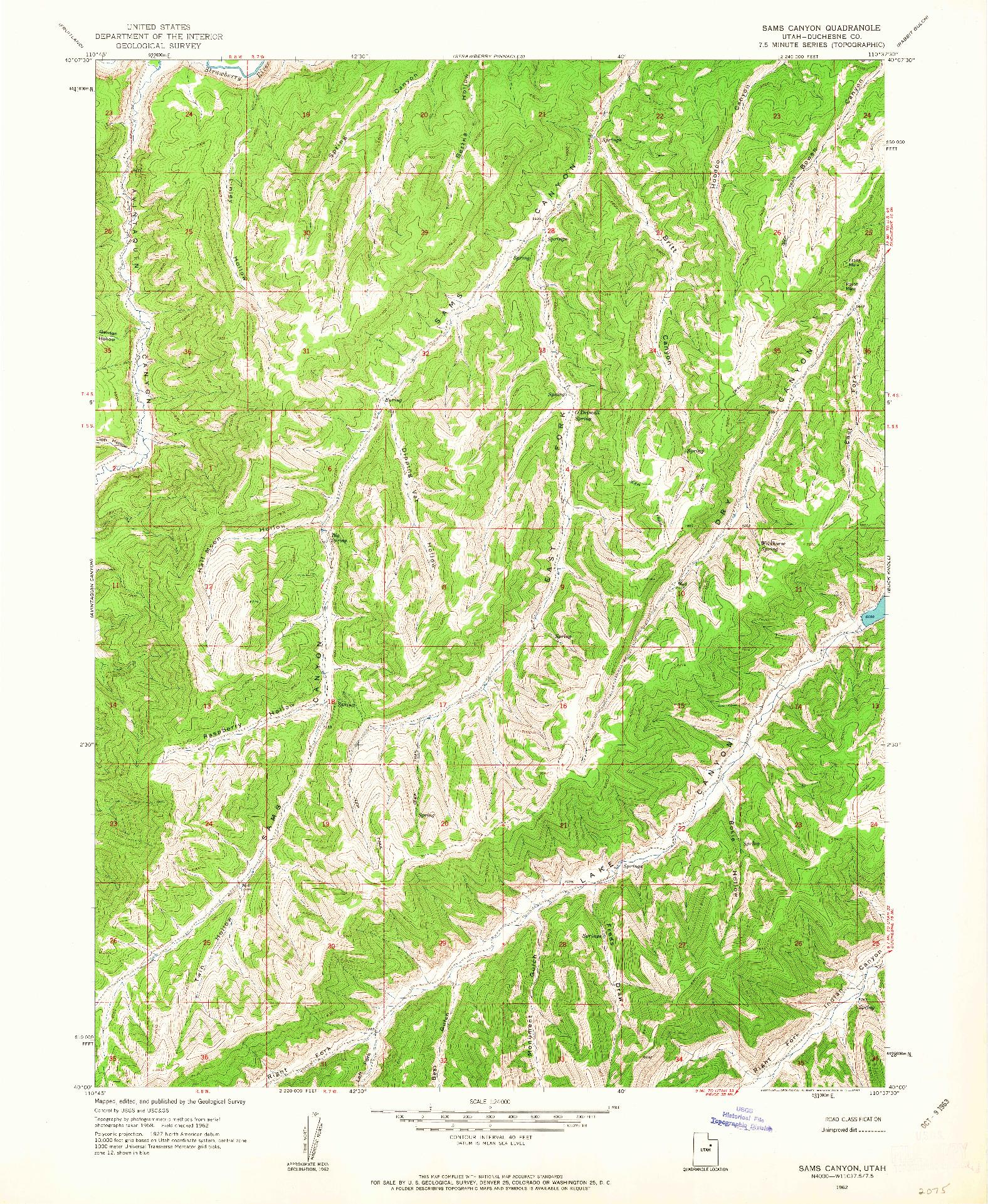USGS 1:24000-SCALE QUADRANGLE FOR SAMS CANYON, UT 1962