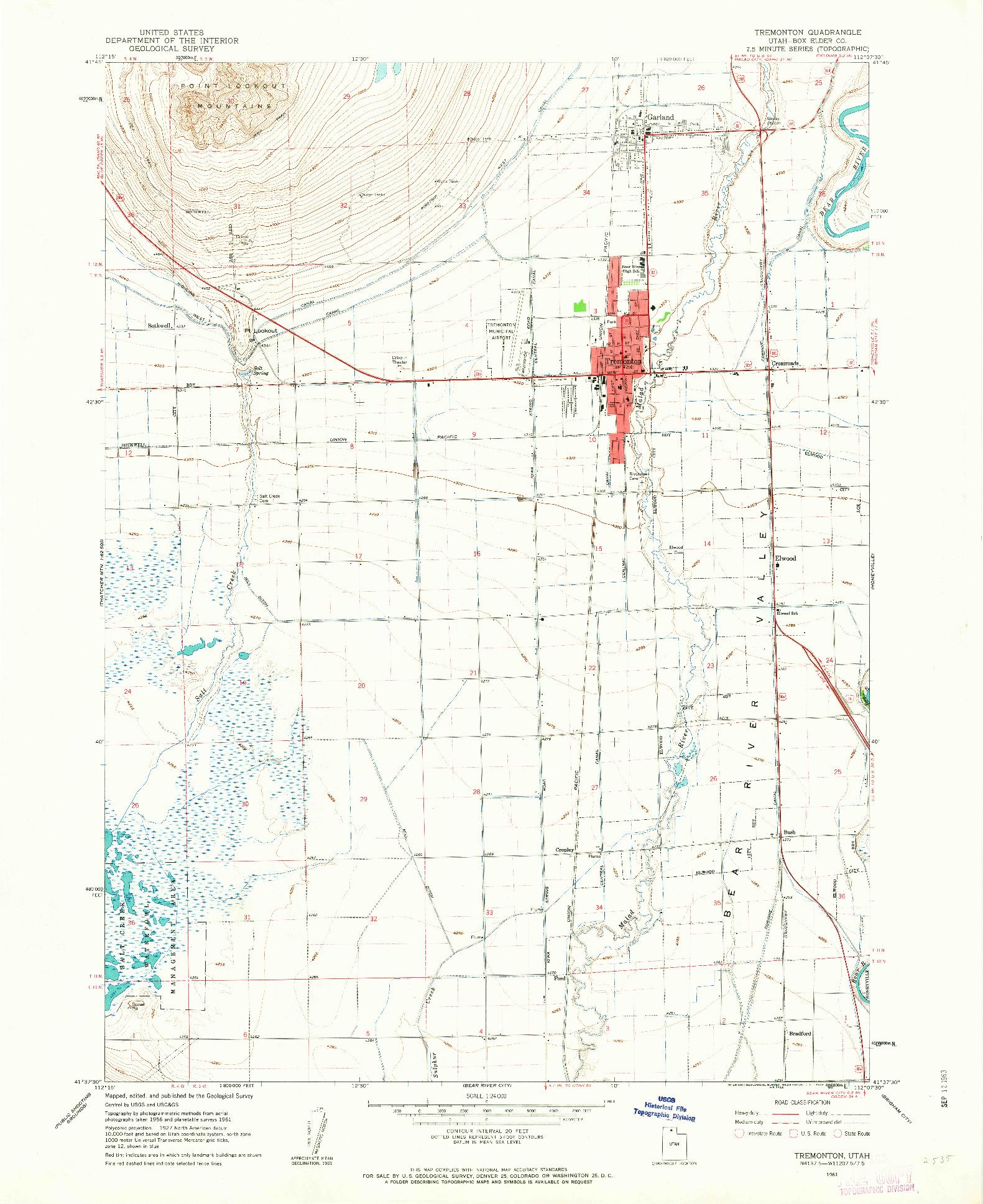 USGS 1:24000-SCALE QUADRANGLE FOR TREMONTON, UT 1961