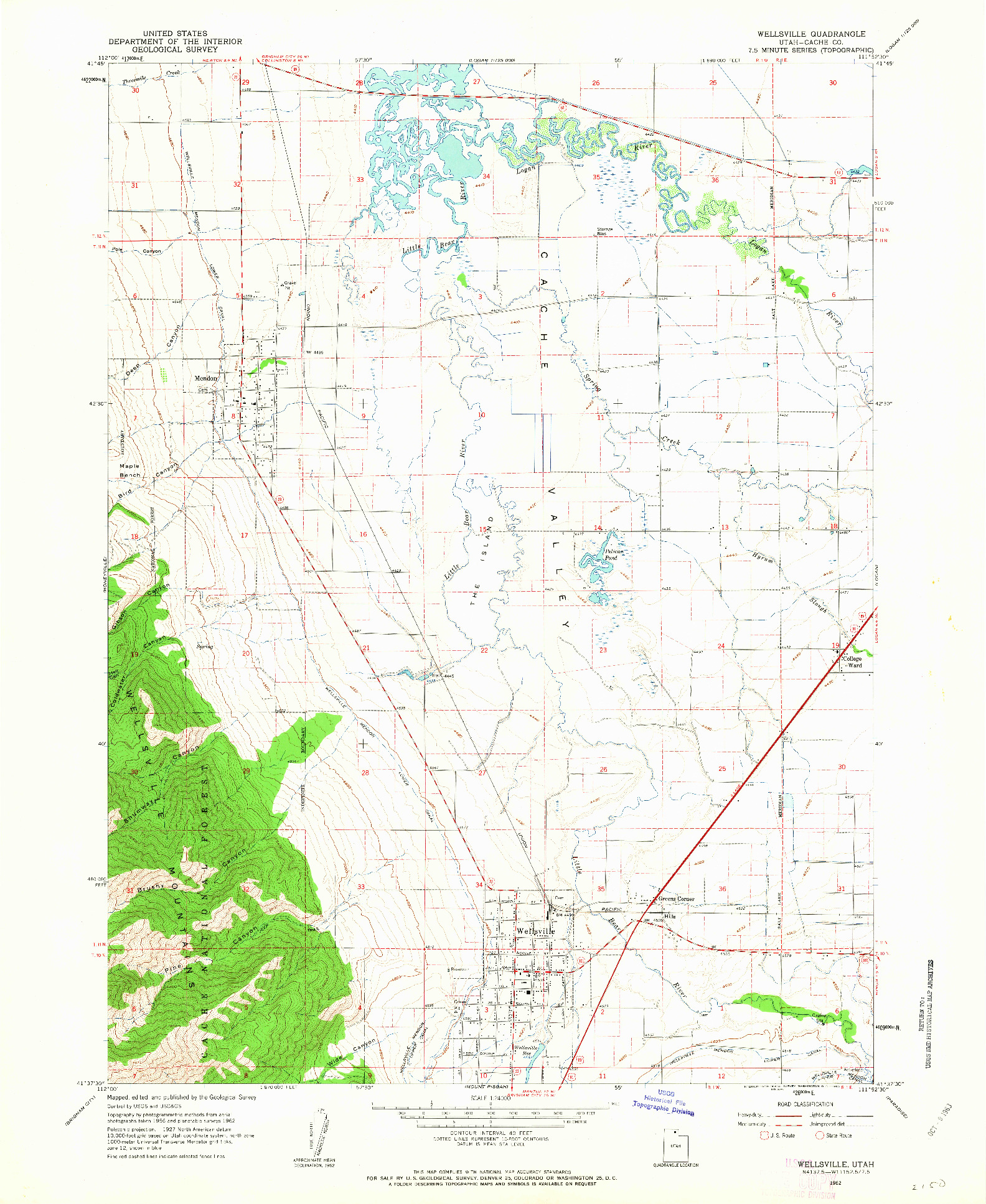 USGS 1:24000-SCALE QUADRANGLE FOR WELLSVILLE, UT 1962