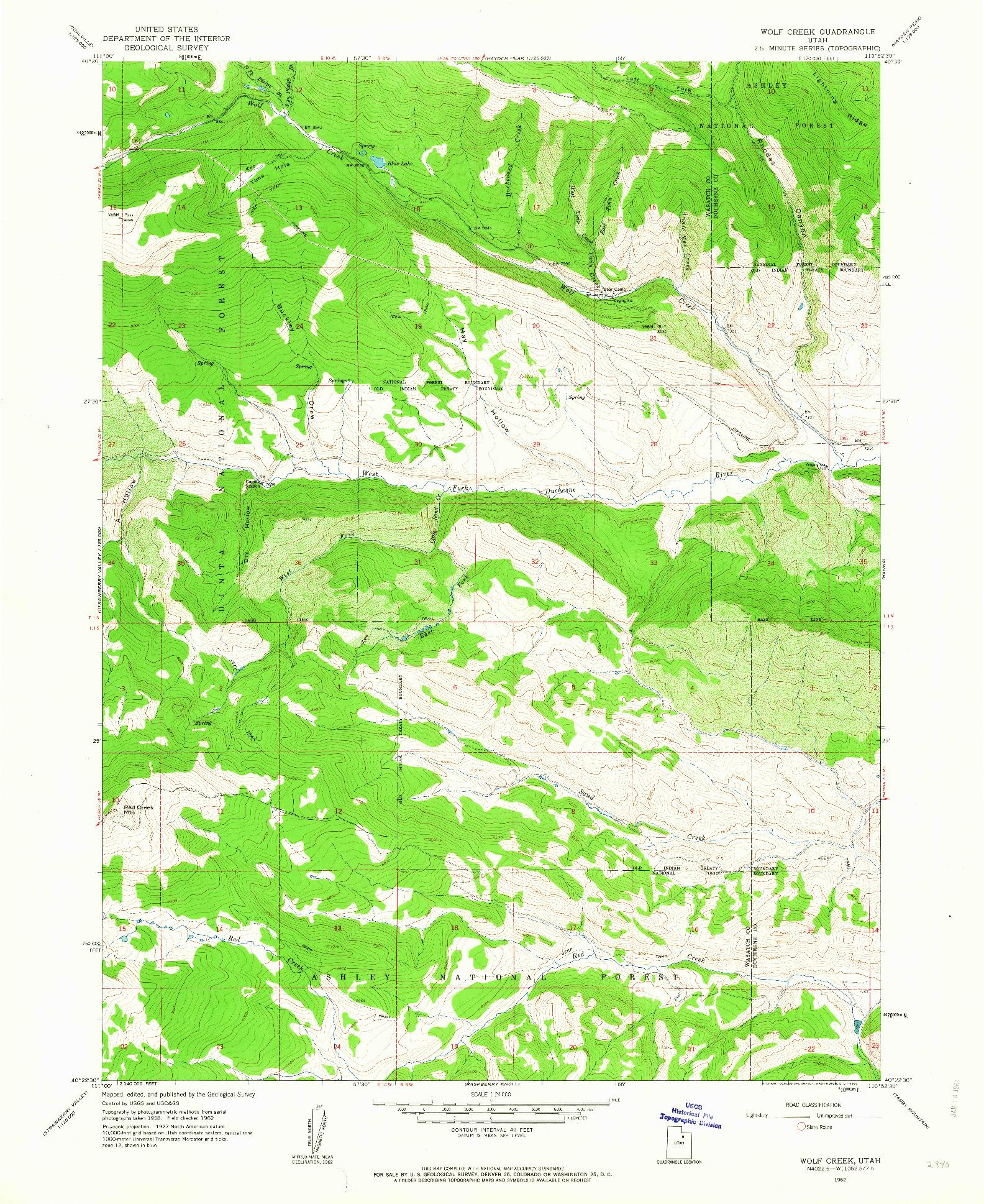 USGS 1:24000-SCALE QUADRANGLE FOR WOLF CREEK, UT 1962