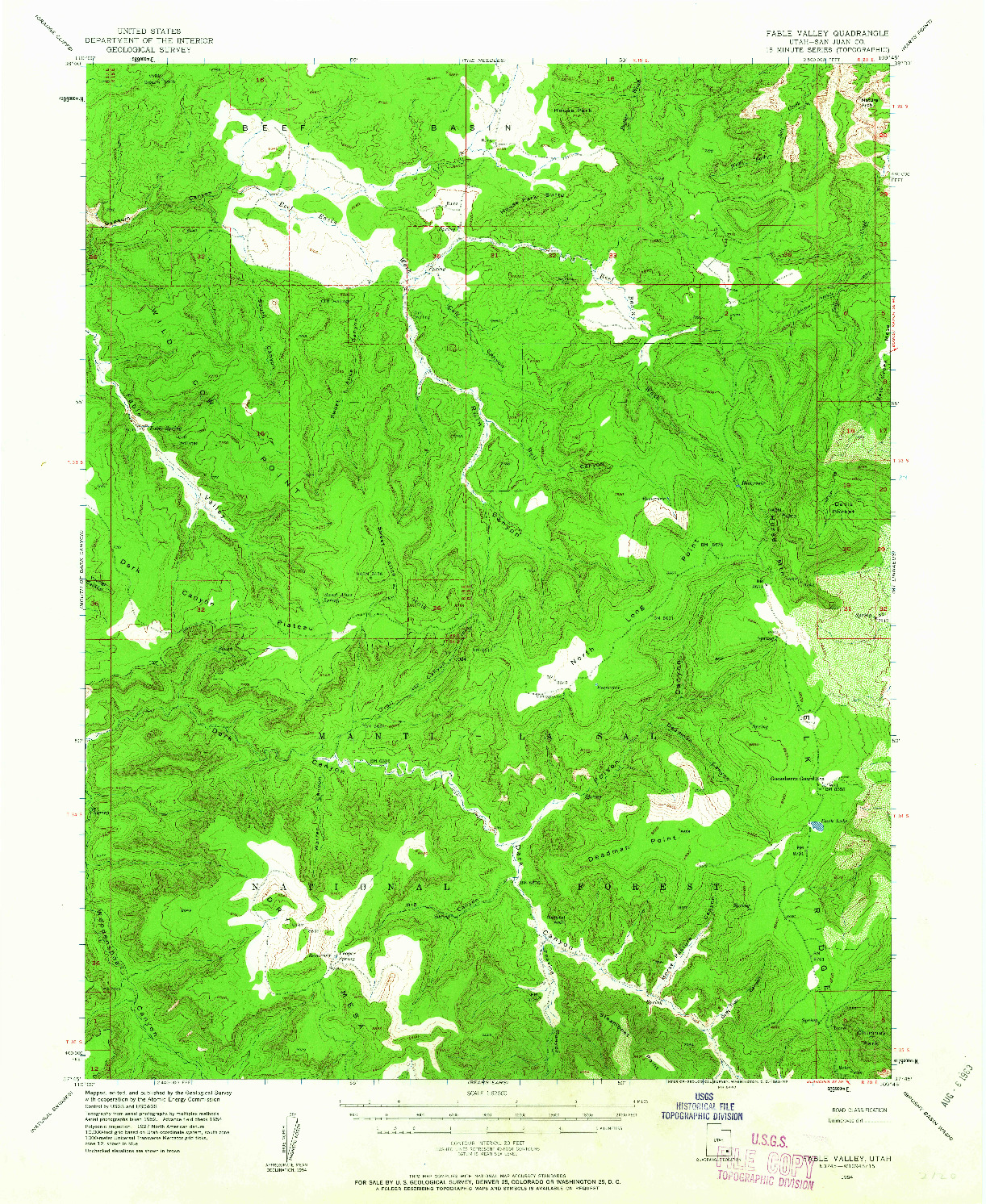 USGS 1:62500-SCALE QUADRANGLE FOR FABLE VALLEY, UT 1954