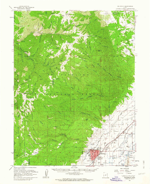 USGS 1:62500-SCALE QUADRANGLE FOR RICHFIELD, UT 1961