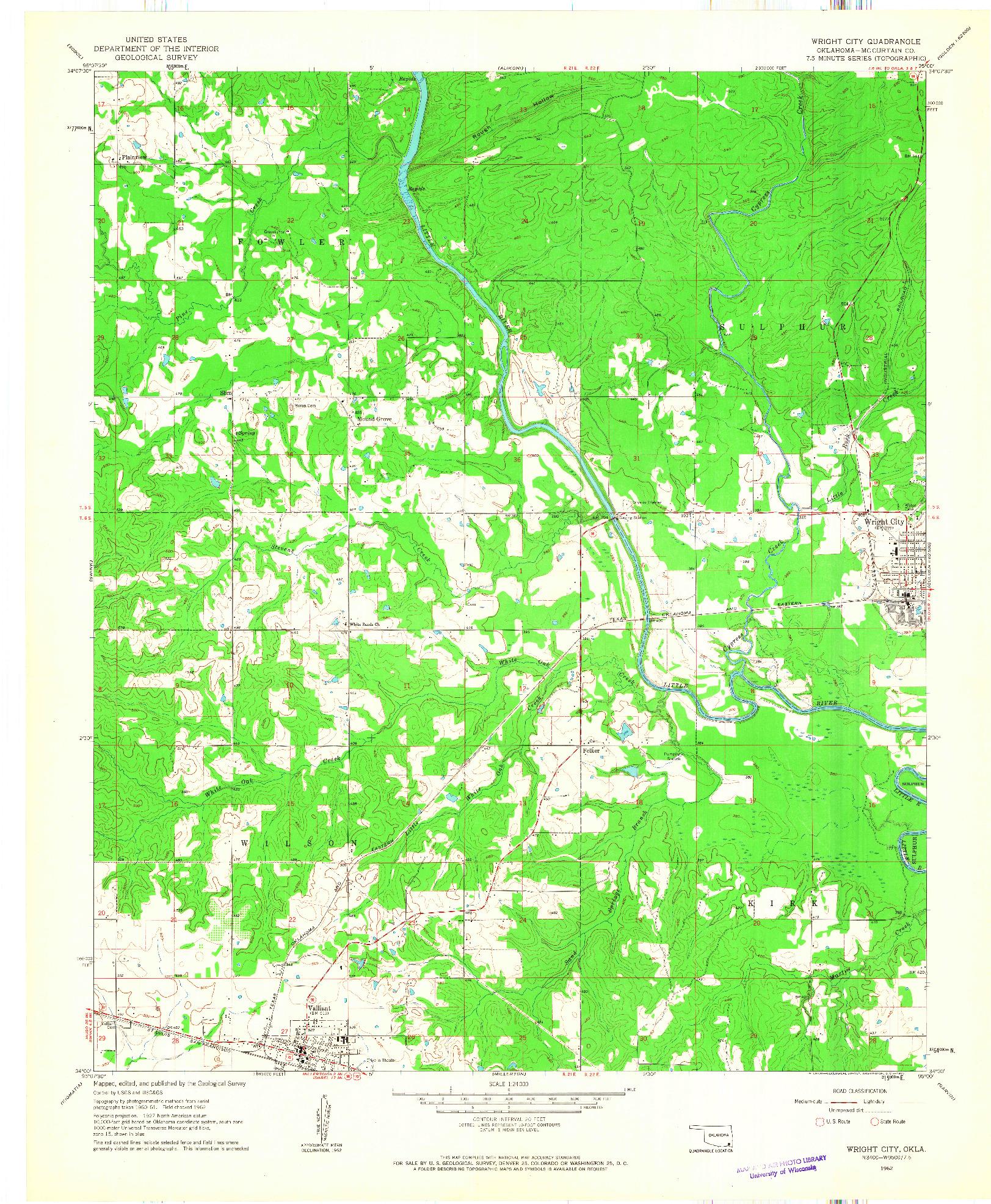 USGS 1:24000-SCALE QUADRANGLE FOR WRIGHT CITY, OK 1962