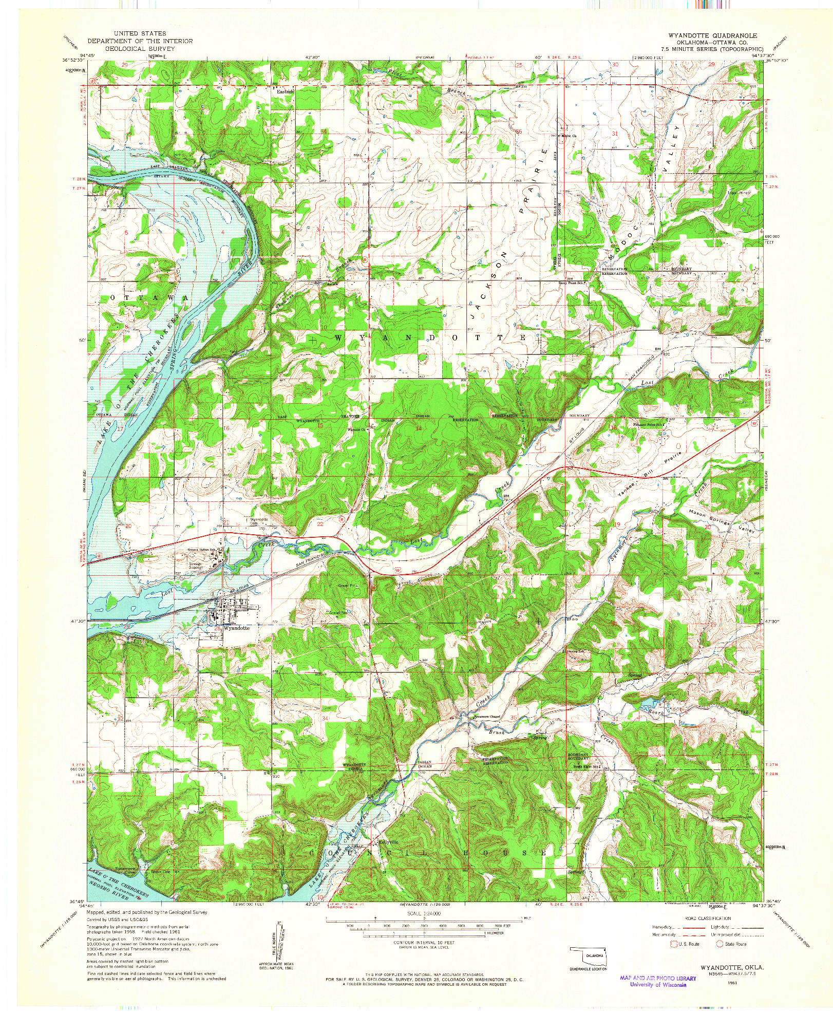 USGS 1:24000-SCALE QUADRANGLE FOR WYANDOTTE, OK 1961