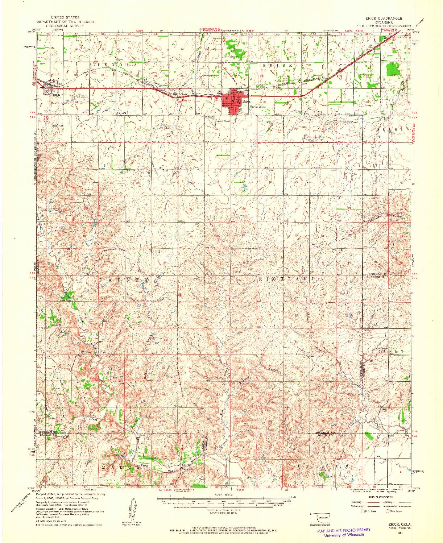 USGS 1:62500-SCALE QUADRANGLE FOR ERICK, OK 1961