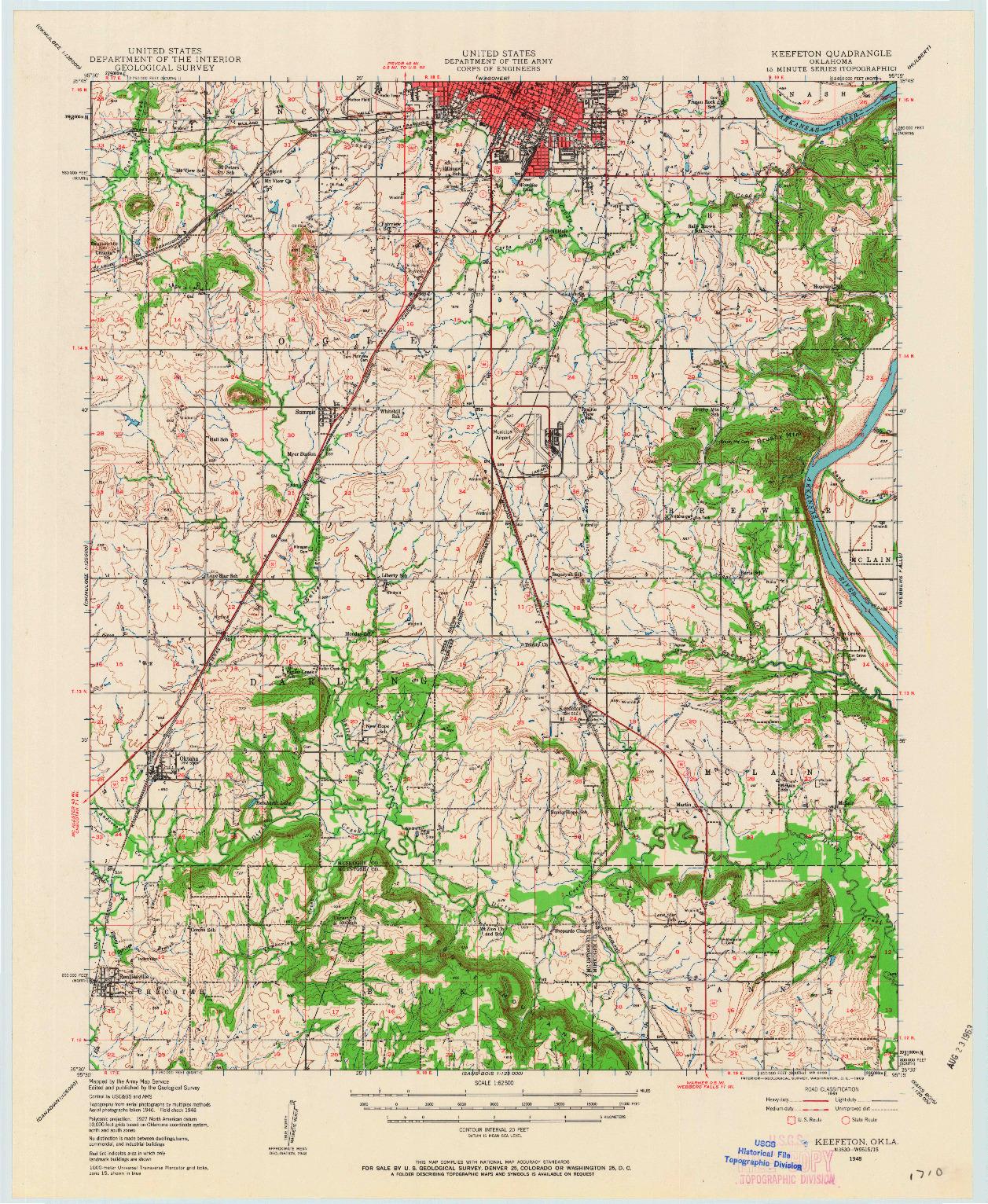 USGS 1:62500-SCALE QUADRANGLE FOR KEEFETON, OK 1948