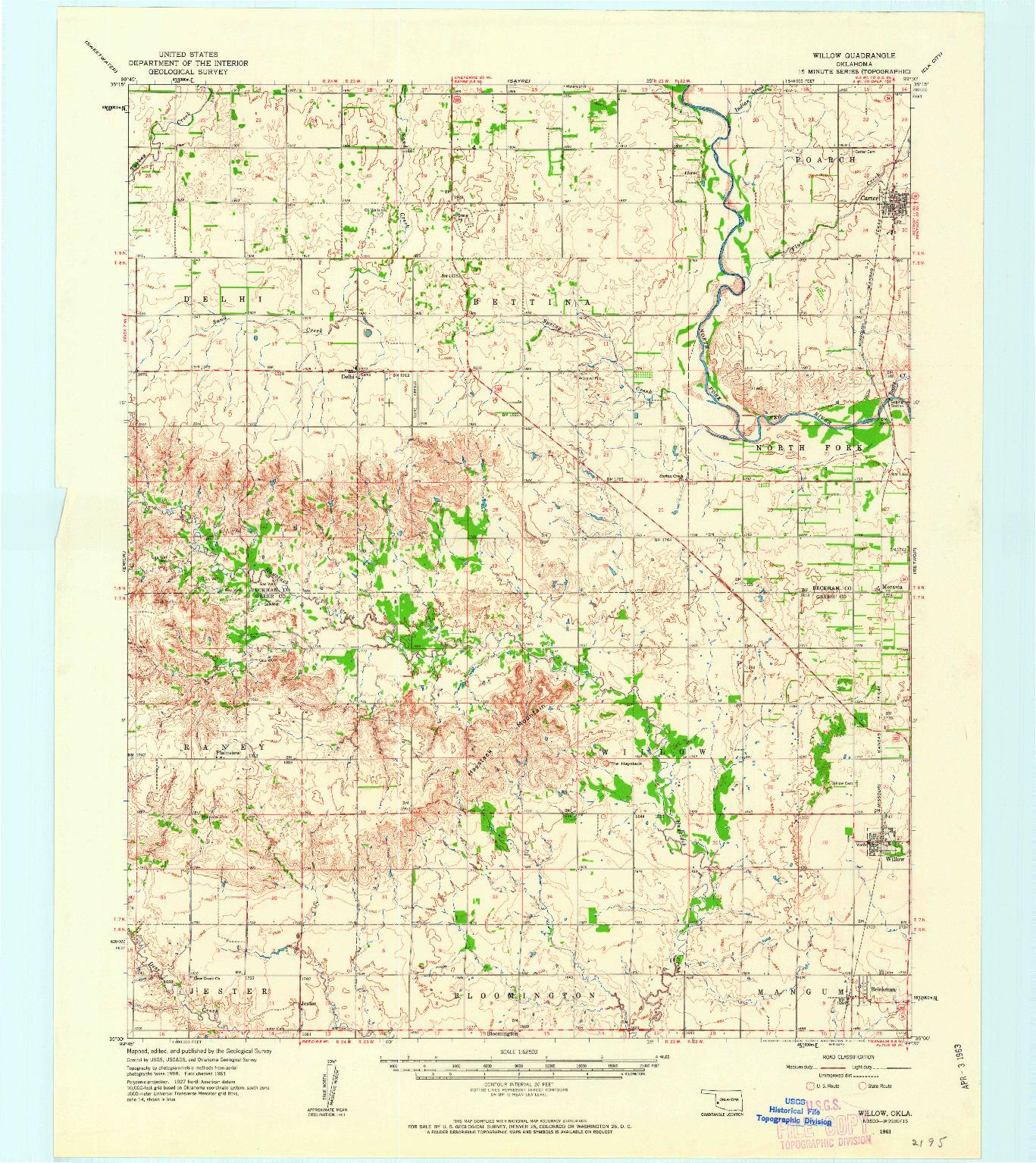 USGS 1:62500-SCALE QUADRANGLE FOR WILLOW, OK 1961