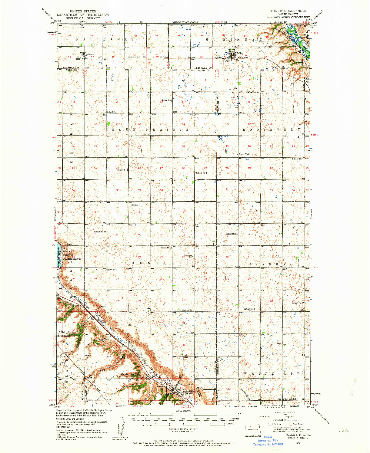 USGS 1:62500-SCALE QUADRANGLE FOR TOLLEY, ND 1947