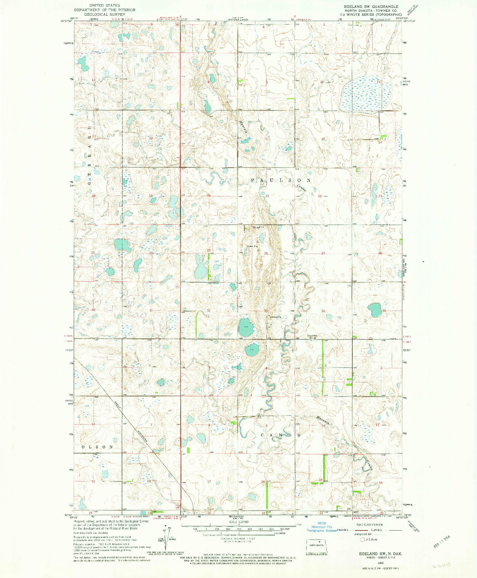 USGS 1:24000-SCALE QUADRANGLE FOR EGELAND SW, ND 1962