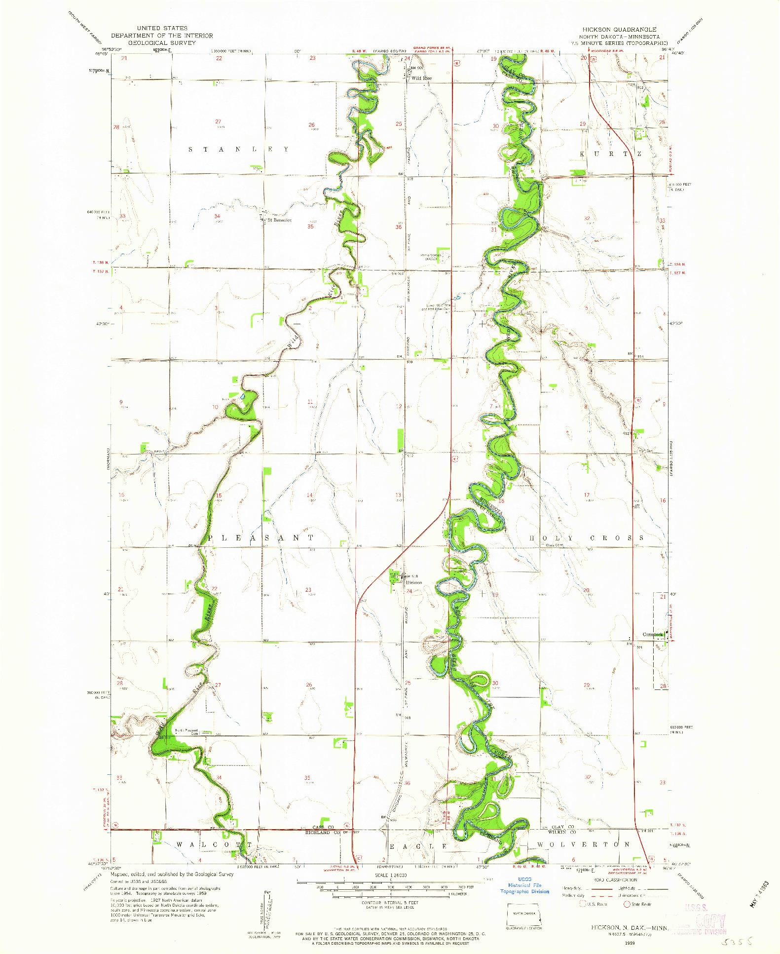 USGS 1:24000-SCALE QUADRANGLE FOR HICKSON, ND 1959