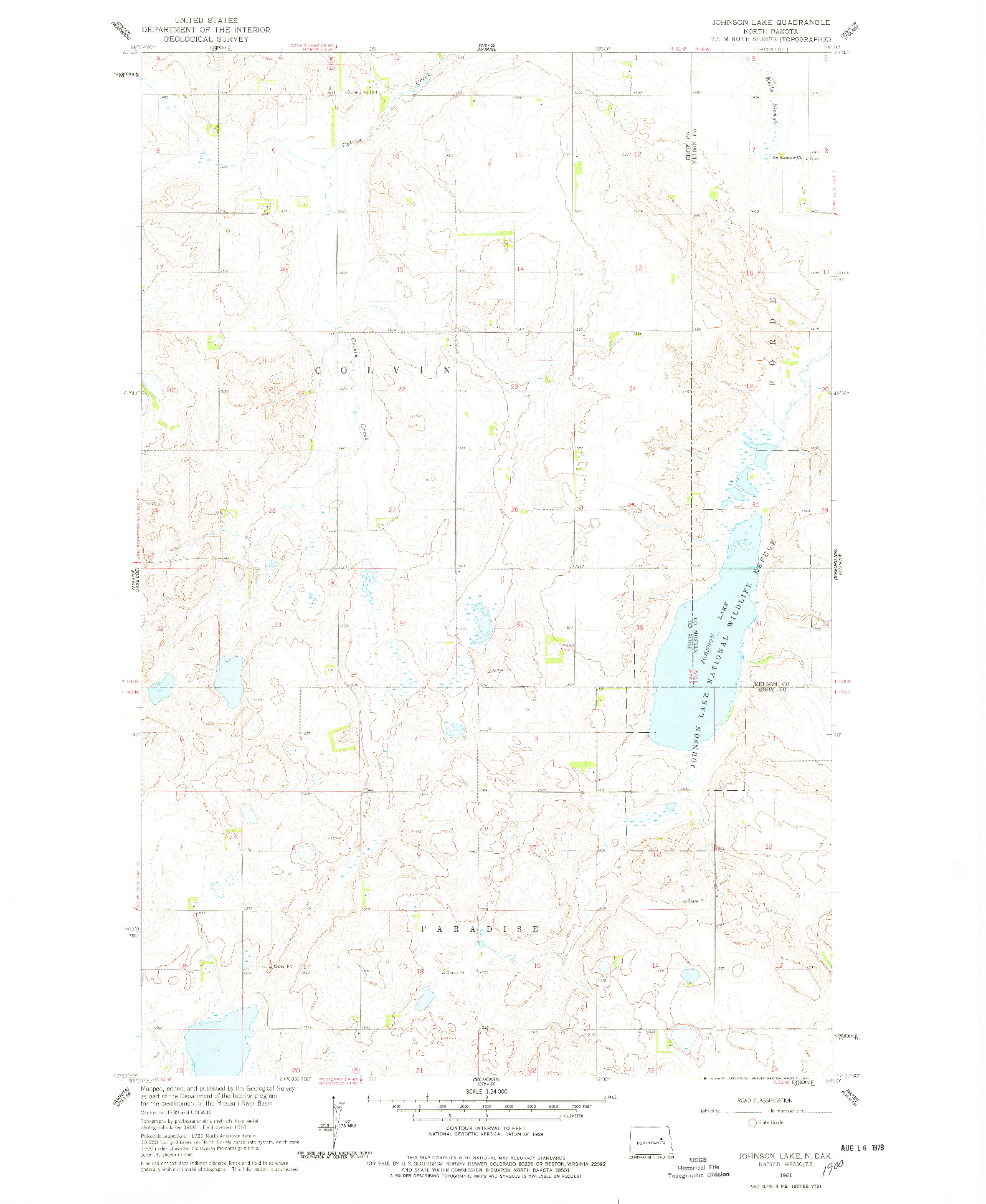 USGS 1:24000-SCALE QUADRANGLE FOR JOHNSON LAKE, ND 1961