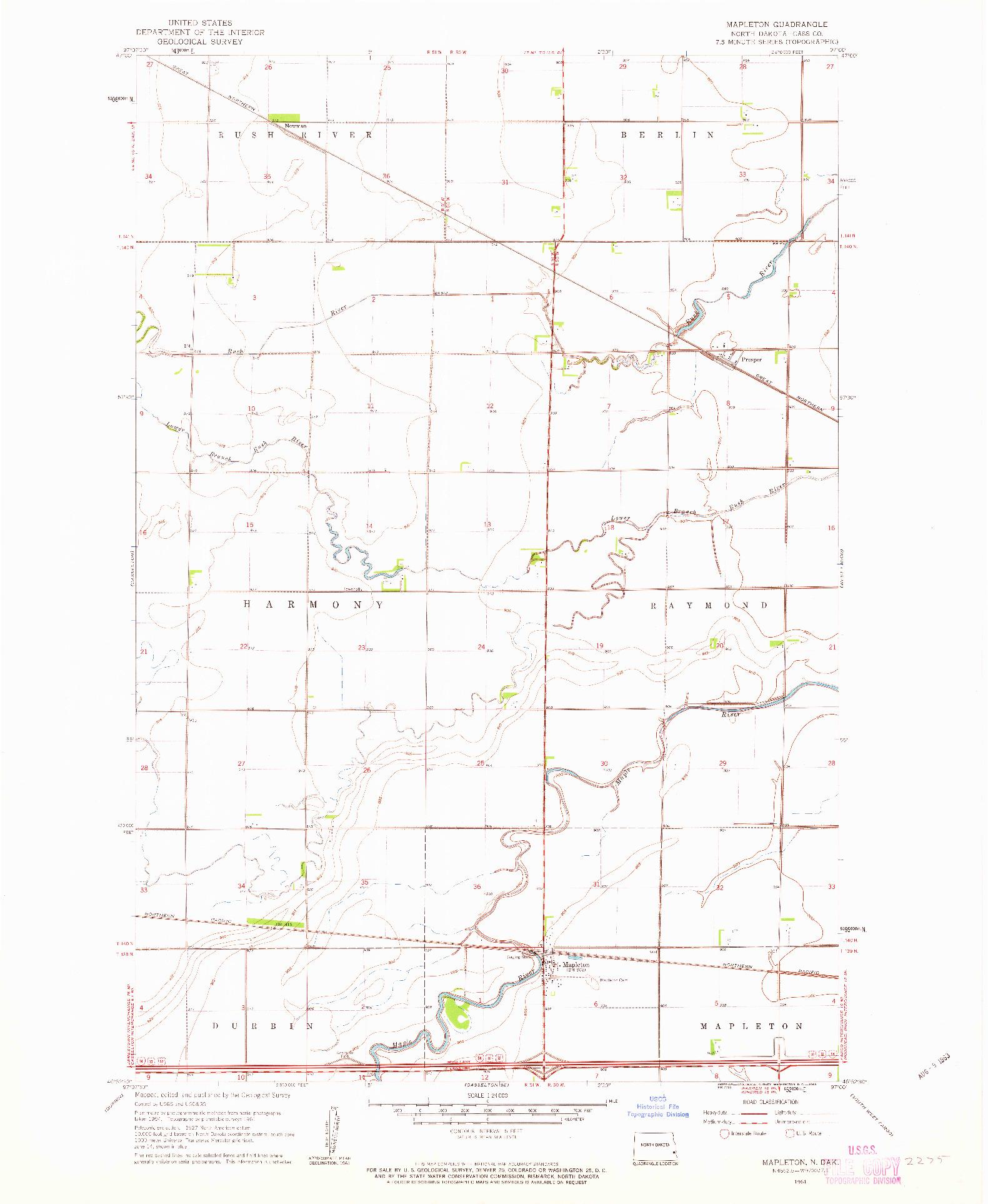 USGS 1:24000-SCALE QUADRANGLE FOR MAPLETON, ND 1961