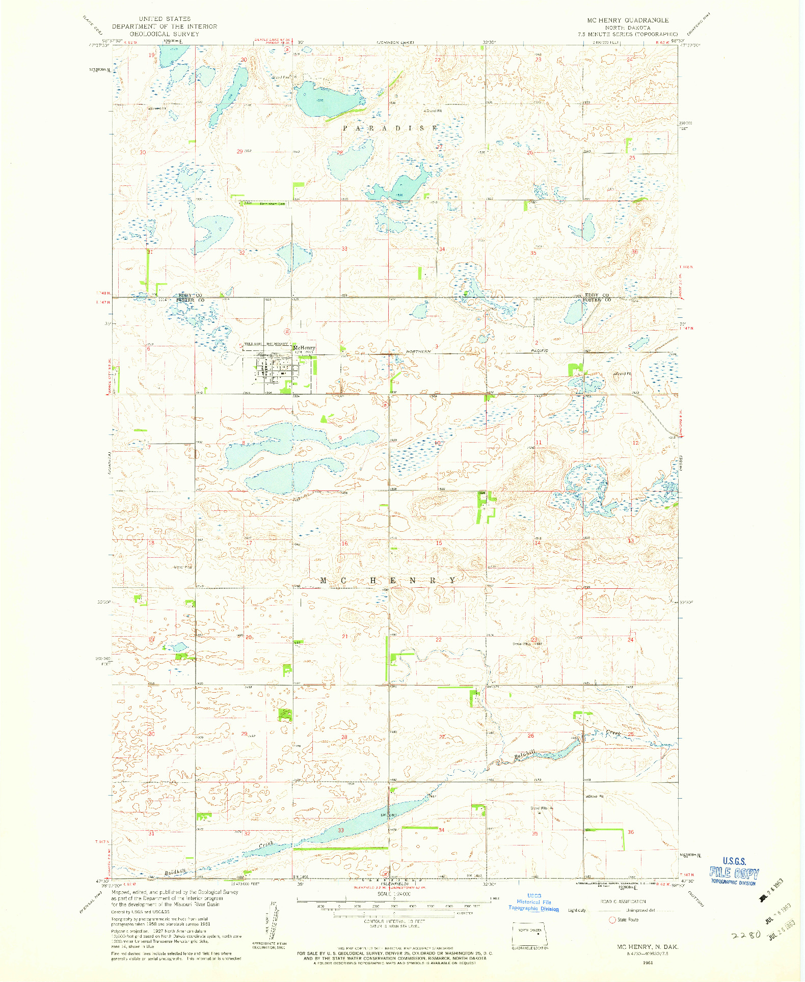 USGS 1:24000-SCALE QUADRANGLE FOR MCHENRY, ND 1961