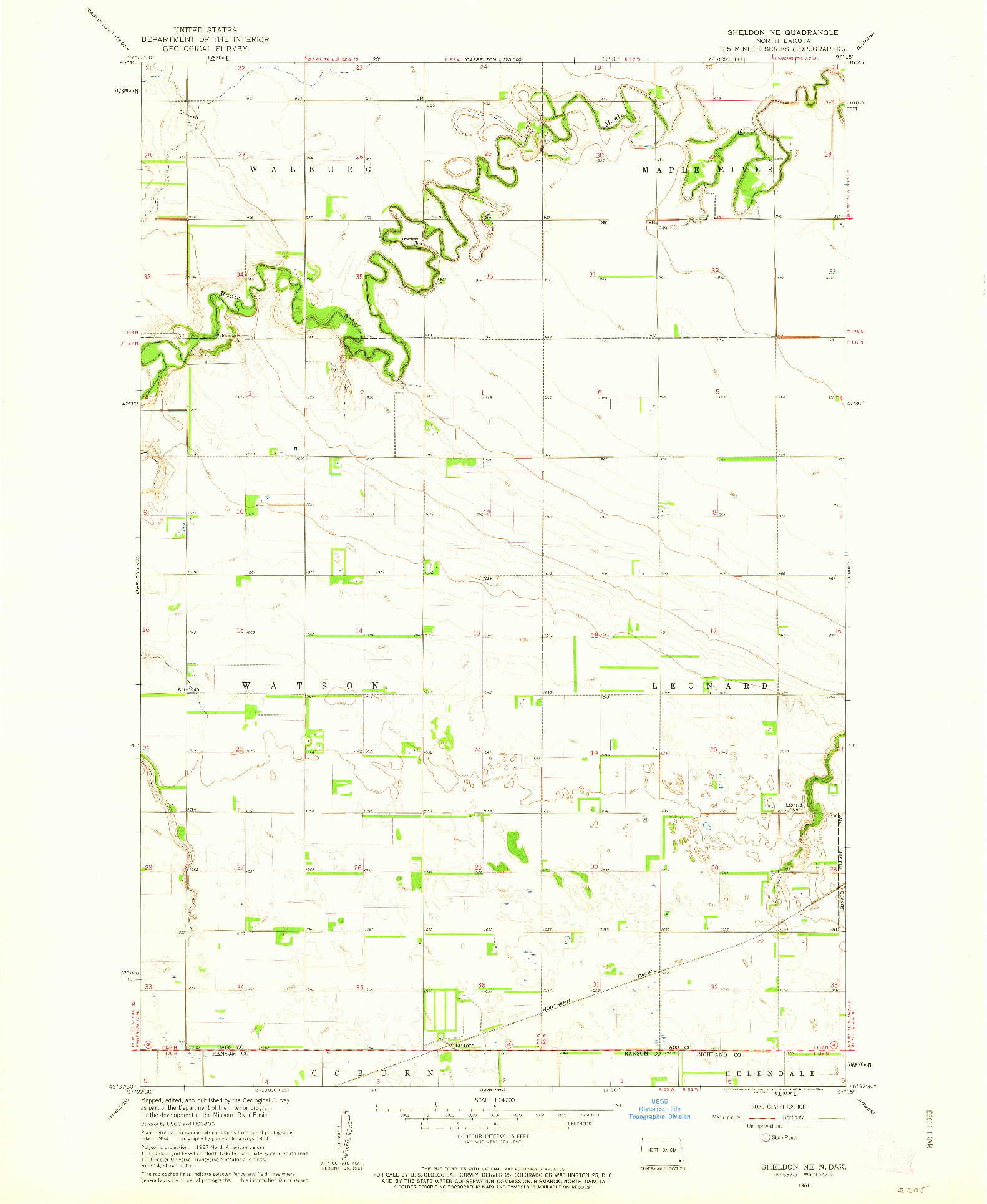 USGS 1:24000-SCALE QUADRANGLE FOR SHELDON NE, ND 1961