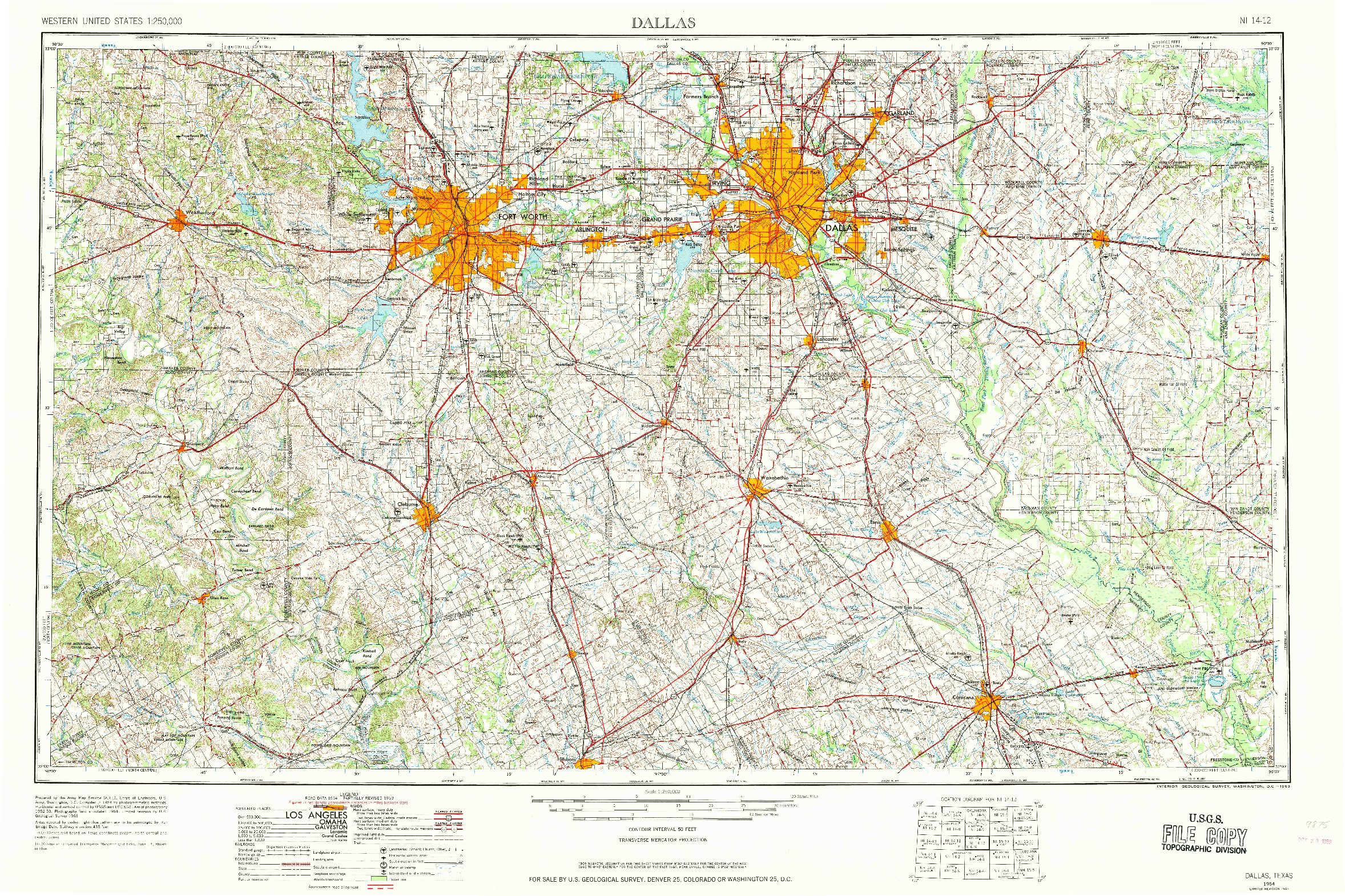 USGS 1:250000-SCALE QUADRANGLE FOR DALLAS, TX 1954