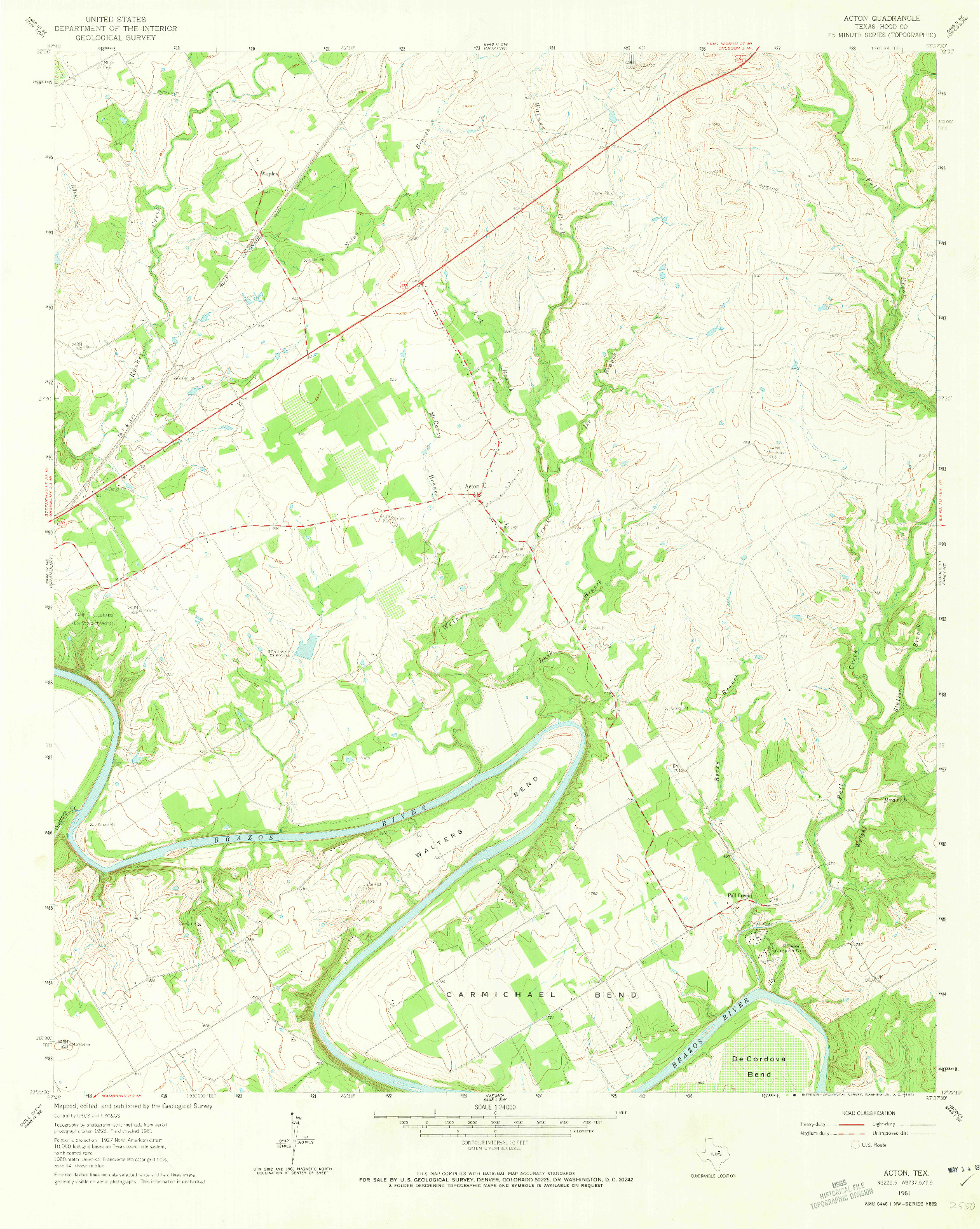 USGS 1:24000-SCALE QUADRANGLE FOR ACTON, TX 1961
