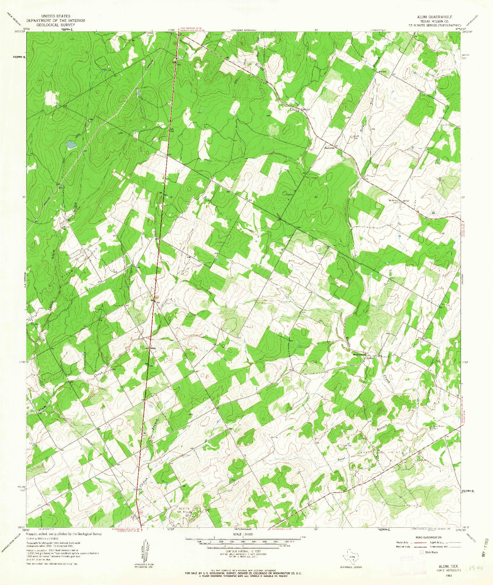 USGS 1:24000-SCALE QUADRANGLE FOR ALUM, TX 1961