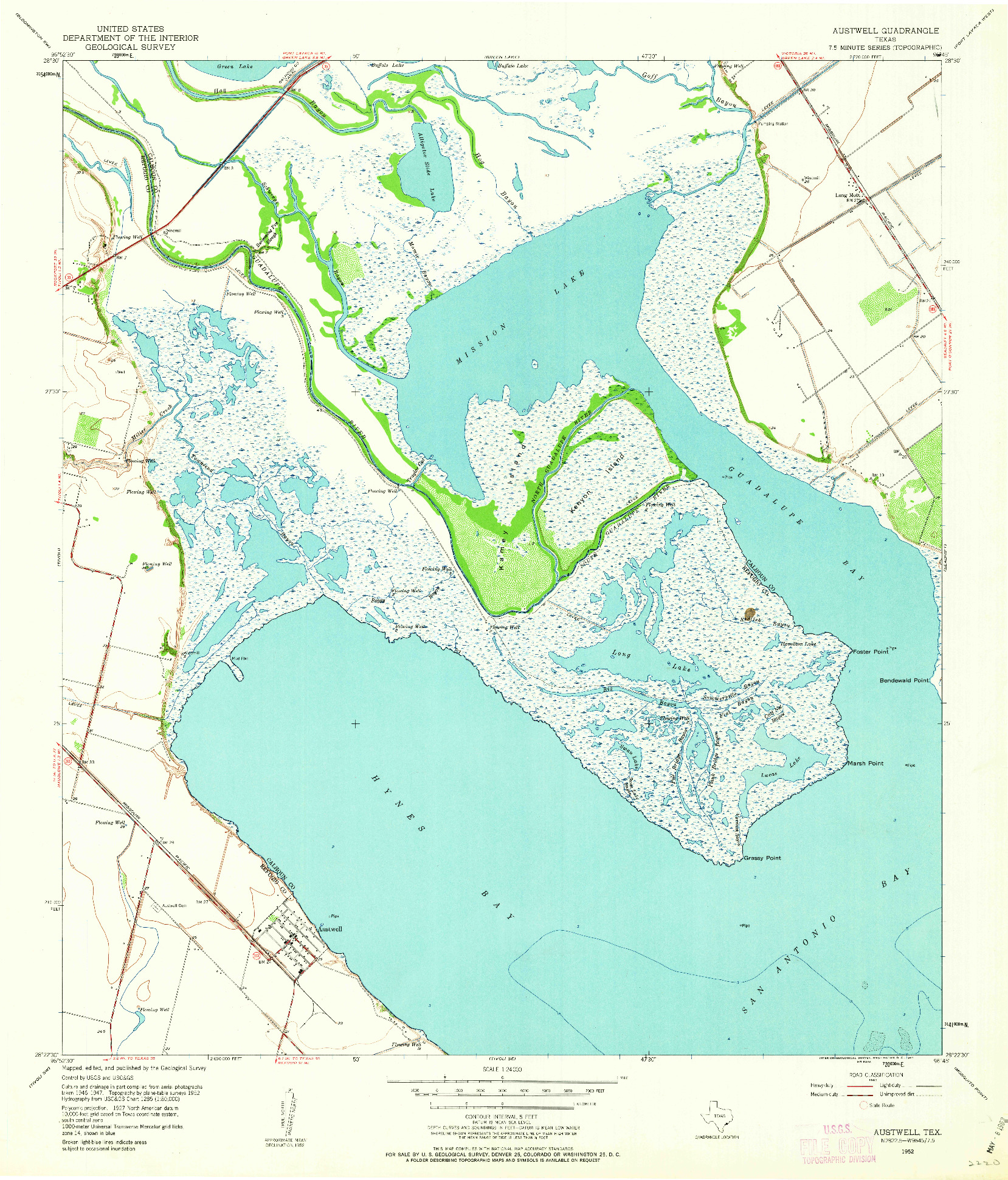 USGS 1:24000-SCALE QUADRANGLE FOR AUSTWELL, TX 1952