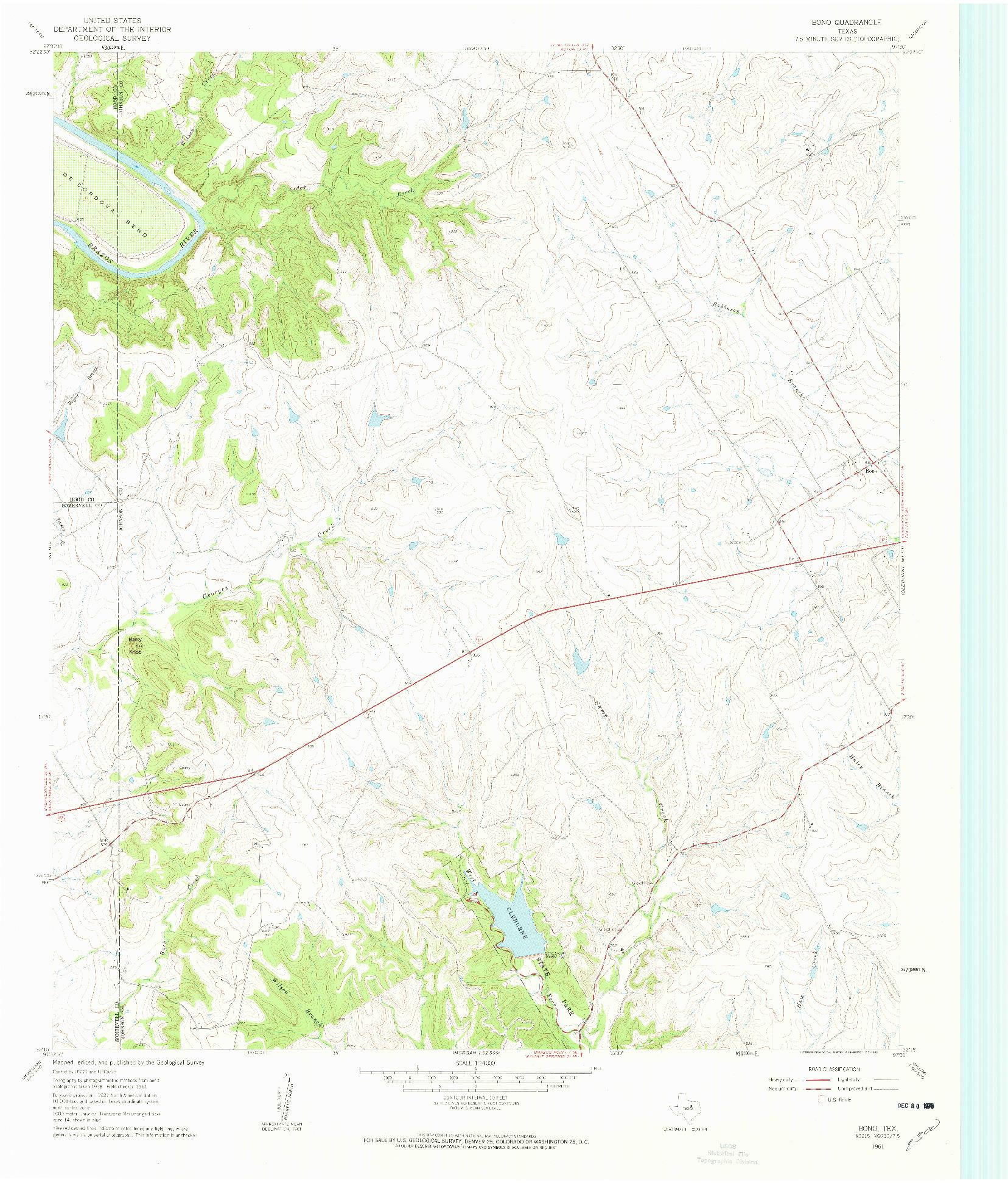 USGS 1:24000-SCALE QUADRANGLE FOR BONO, TX 1961