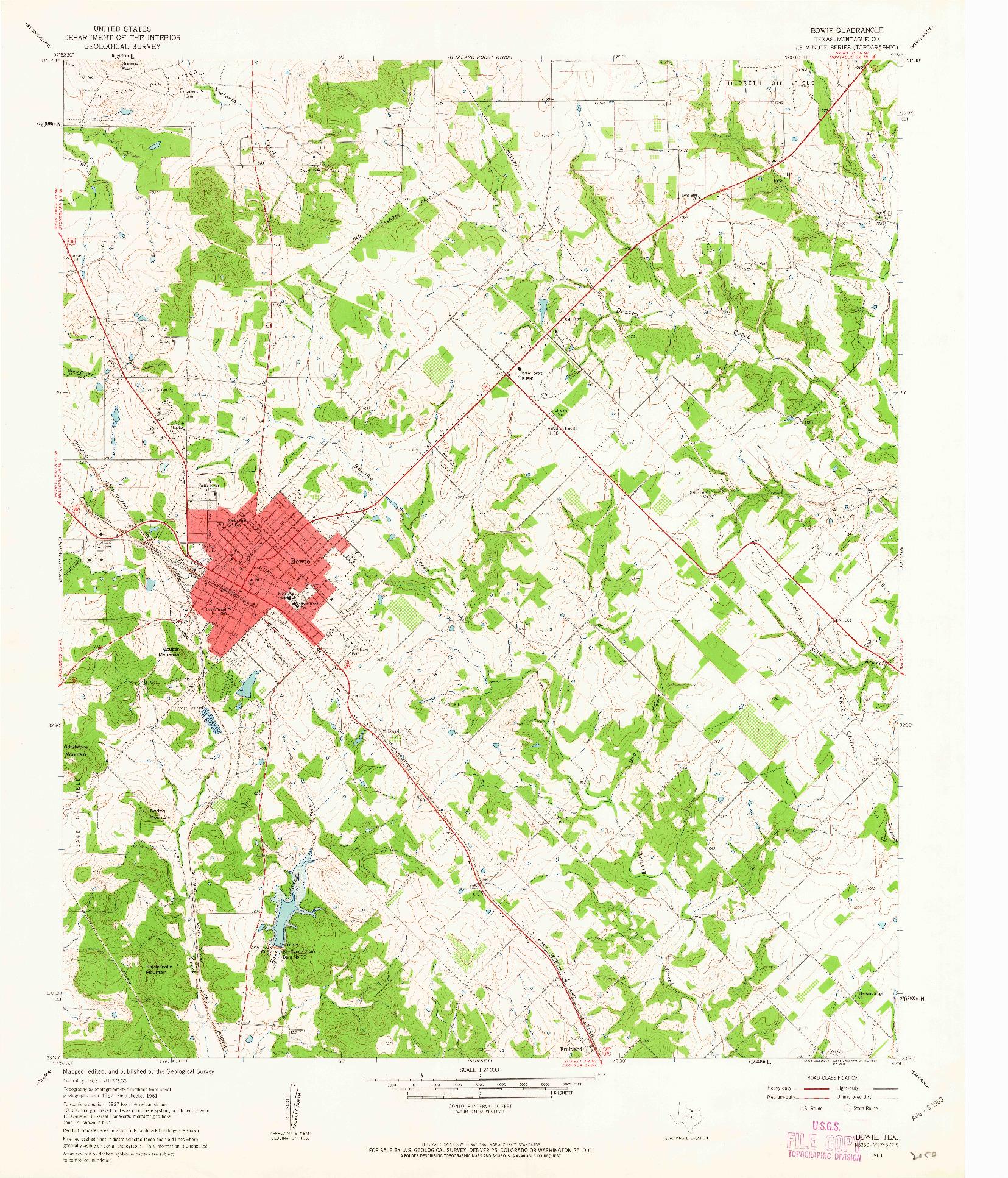 USGS 1:24000-SCALE QUADRANGLE FOR BOWIE, TX 1961