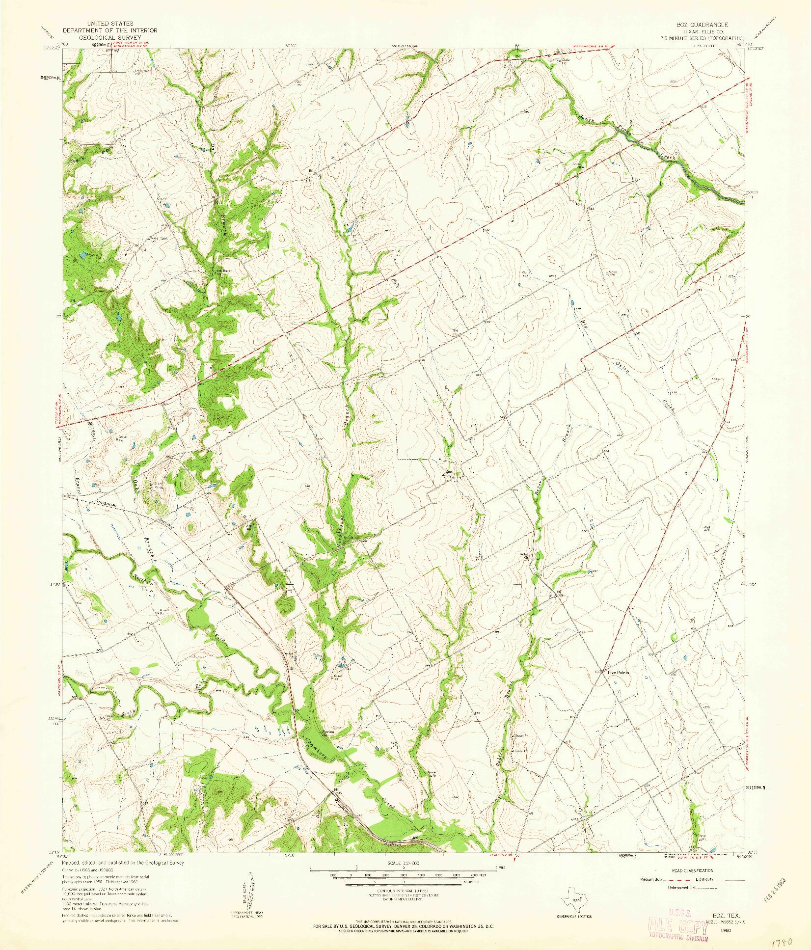 USGS 1:24000-SCALE QUADRANGLE FOR BOZ, TX 1960