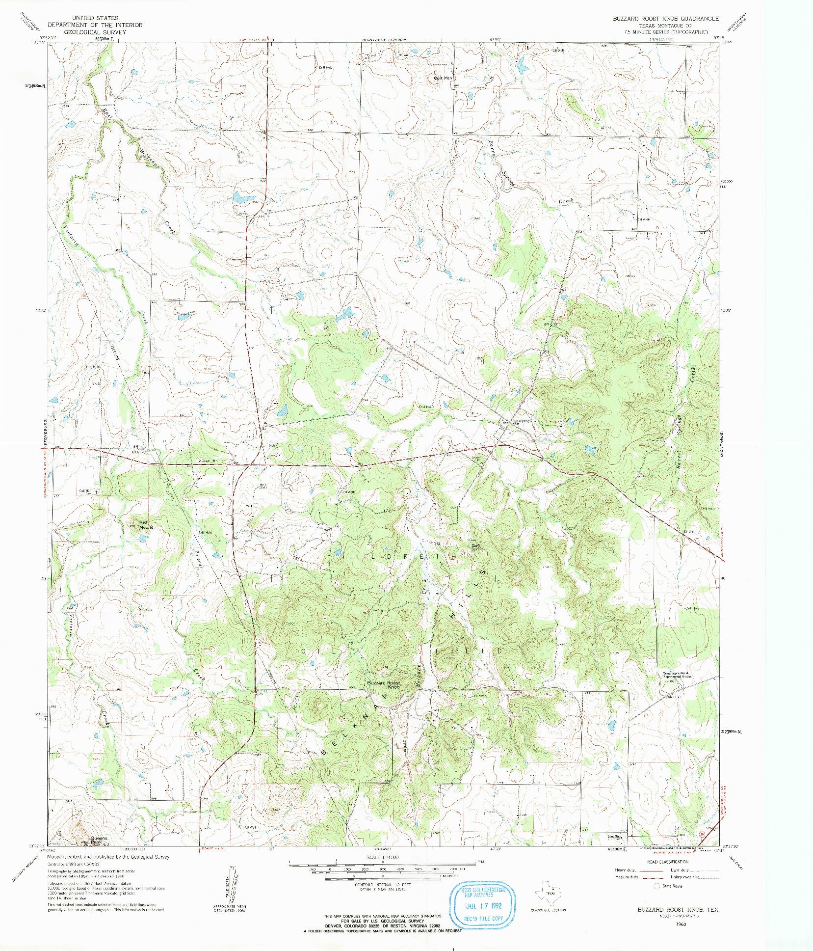 USGS 1:24000-SCALE QUADRANGLE FOR BUZZARD ROOST KNOB, TX 1960