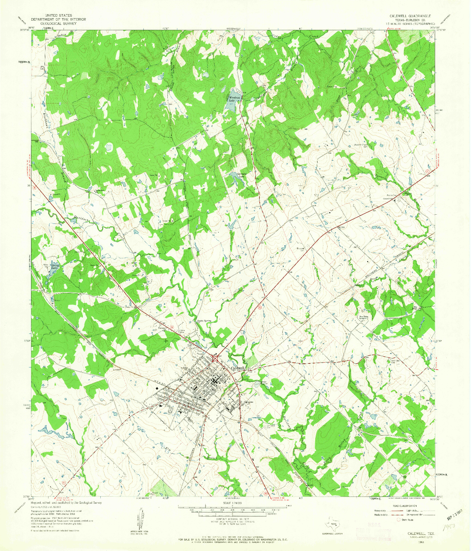 USGS 1:24000-SCALE QUADRANGLE FOR CALDWELL, TX 1961