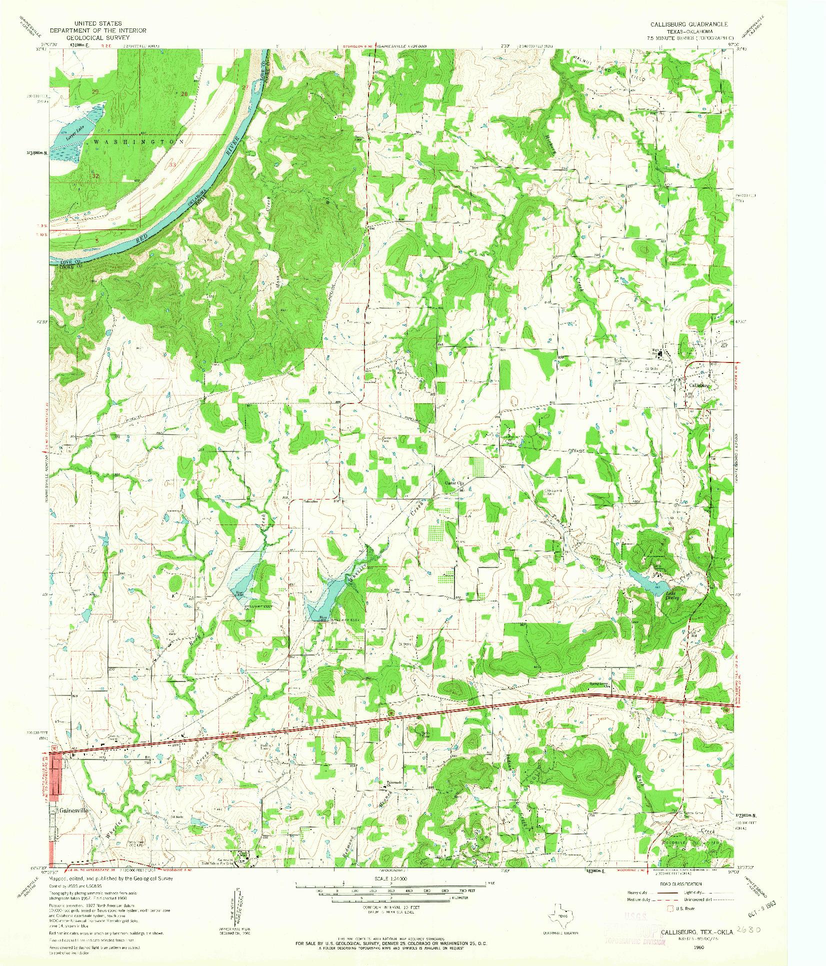 USGS 1:24000-SCALE QUADRANGLE FOR CALLISBURG, TX 1960